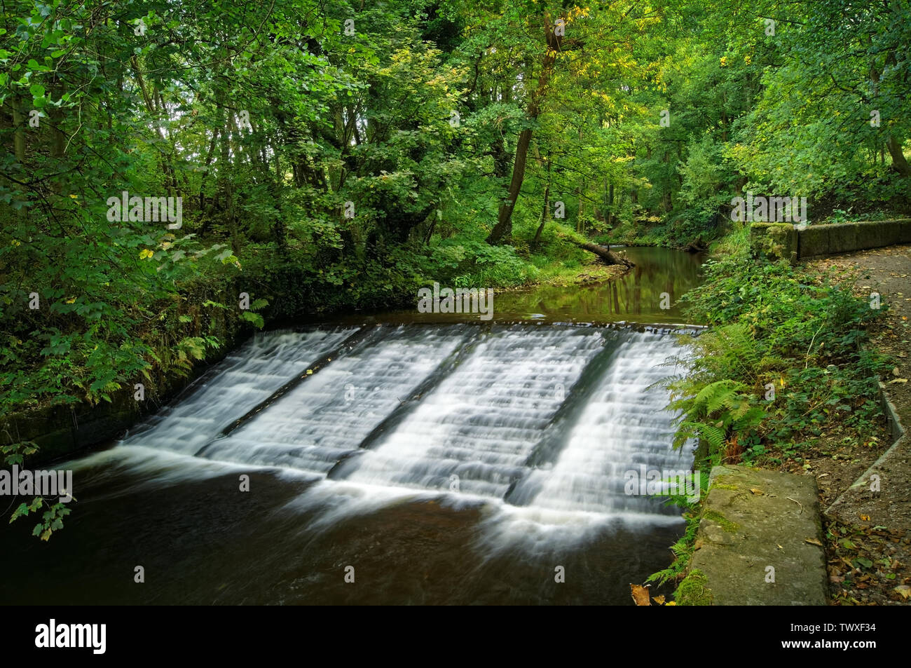 UK,South Yorkshire,Sheffield,River Loxley,Wisewood Forge Wheel Weir - Stock Image