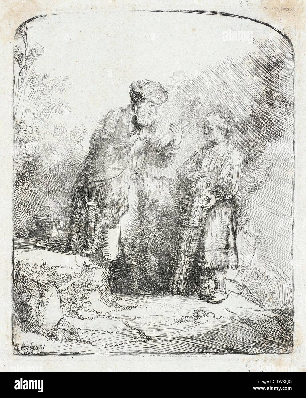 'Abraham and Isaac; English:  Holland, 1645 Edition: Basan impression Prints; etchings Etching Gift of Mrs. Mary B. Regan (31.21.8) Prints and Drawings; 1645date QS:P571,+1645-00-00T00:00:00Z/9; ' - Stock Image