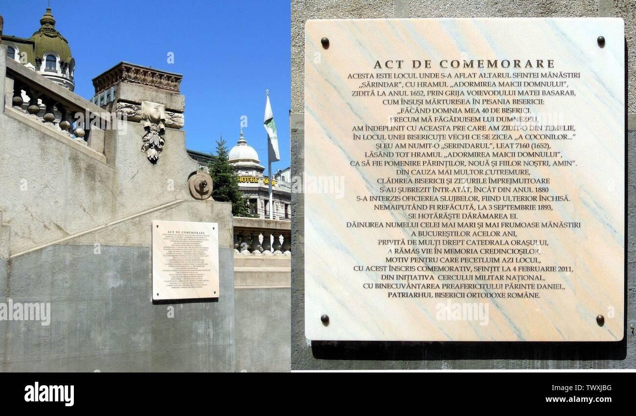 Română: Placa comemorativă montată pe zidul exterior al scărilor ce urcă spre terasa din fața Palatului Cercului Militar Național, spre amintirea mănăstirii fostei Mănăstiri Sărindar, pe al cărei fost amplasament se ridică în prezent Palatul Cercului Militar Național.     This is a photo of a historic monument in București, classified with number B-II-m-A-19201; 29 April 2013 (original upload date); Transferred from ro.pedia to Commons.; Miehs at Romanian pedia; Stock Photo