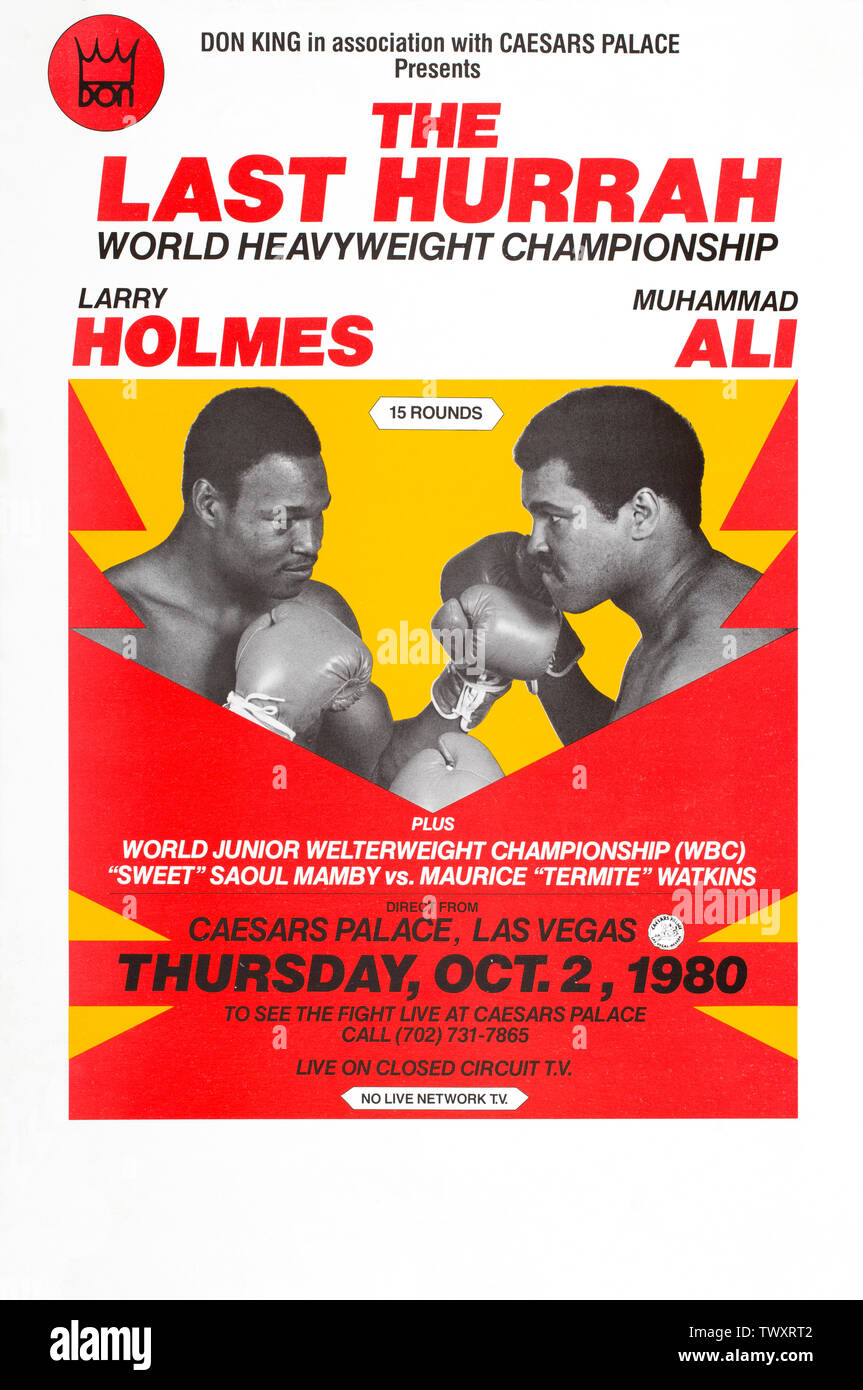 Muhammad Ali and Larry Holmes World Heavyweight Championship box match poster October, 2 1980.  The match was billed as The Last Hurrah in Caesars Pal - Stock Image
