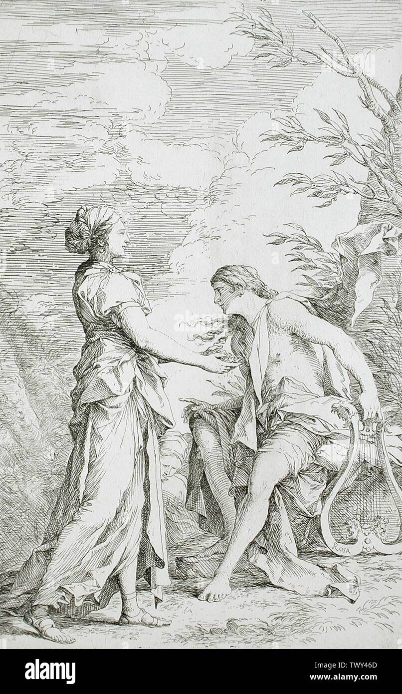 """""""Apollo and the Cumean Sibyl; English:  Italy, circa 1661 Prints; etchings Etching with drypoint Sheet: 19 5/16 x 14 1/4 in. (49.05 x 36.2 cm); image: 13 1/2 x 8 1/2 in. (34.29 x 21.59 cm) Gift of Mr. and Mrs. Raymond Lewis (M.63.69.2) Prints and Drawings; circa 1661 date QS:P571,+1661-00-00T00:00:00Z/9,P1480,Q5727902; """" Stock Photo"""