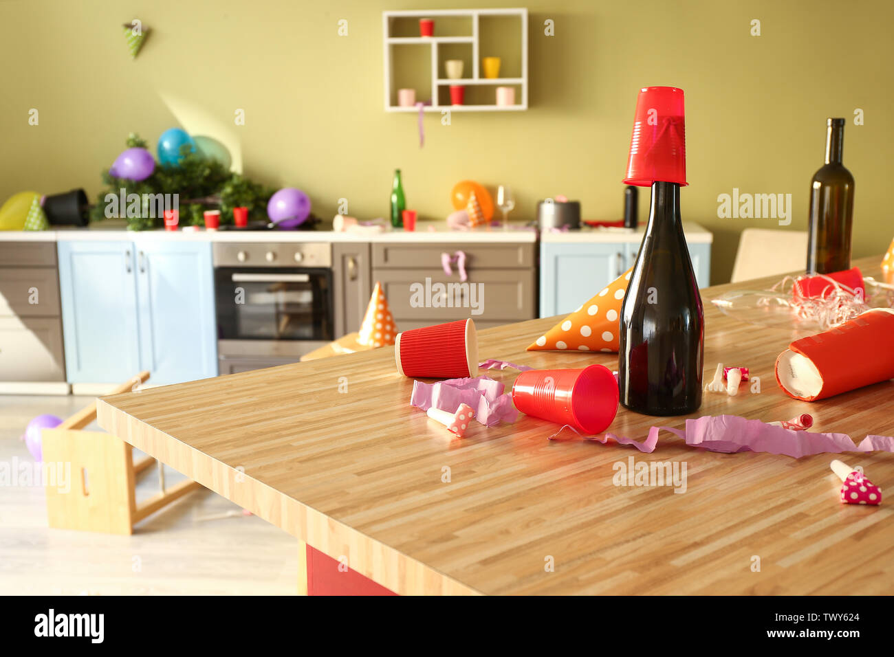 Interior of kitchen after party - Stock Image