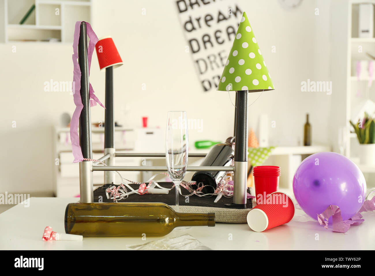 Table in office after party - Stock Image