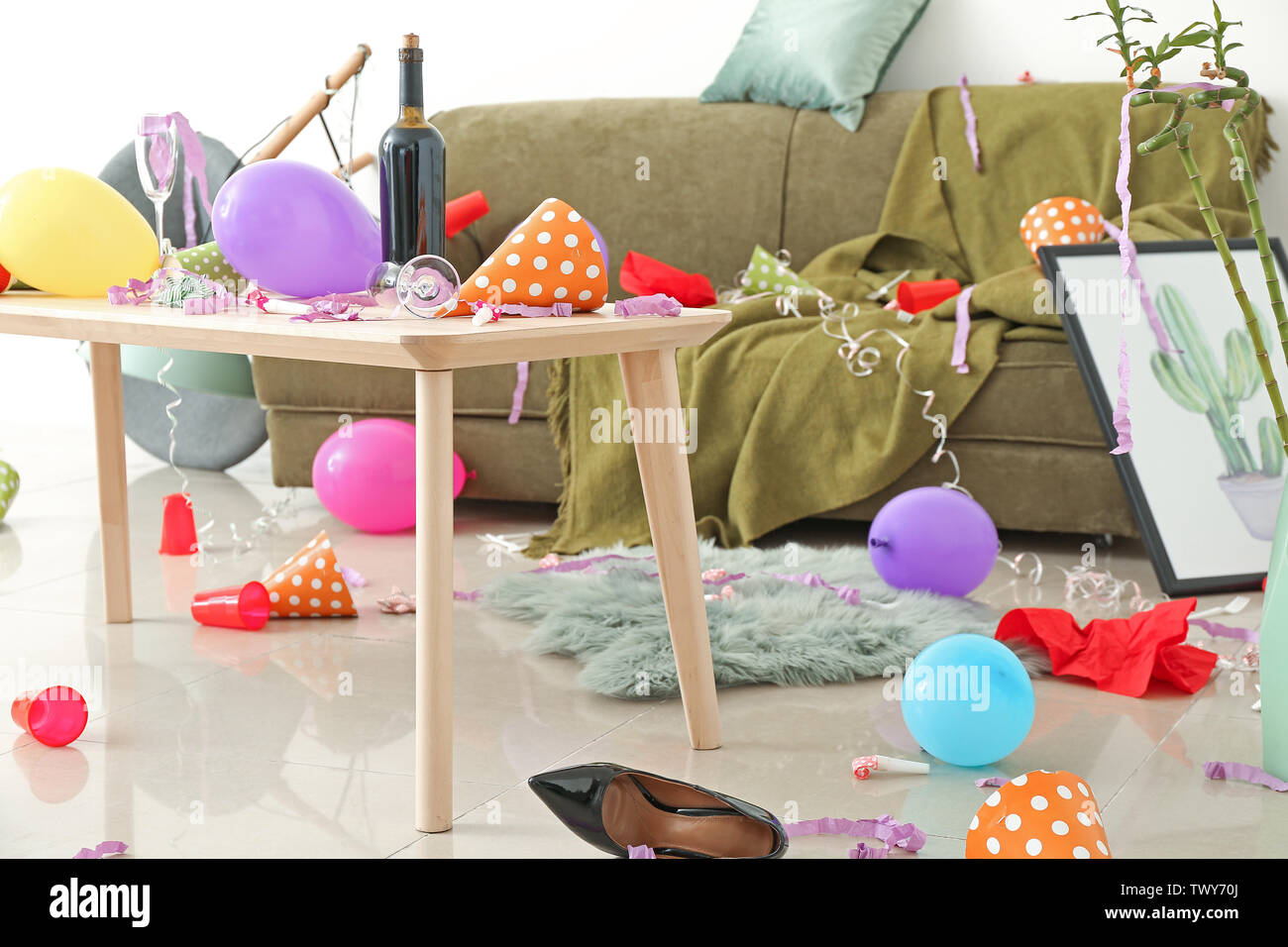 Interior of room after party - Stock Image