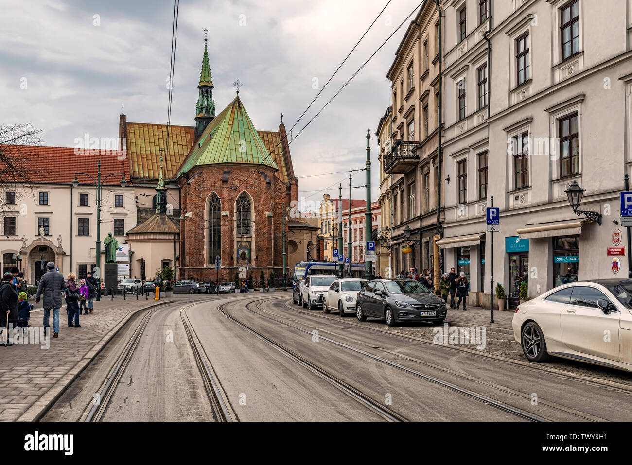 Cracow, Poland - Feb 2, 2019: View at the street leading to the Franciscan Church Crakow Poland. - Stock Image