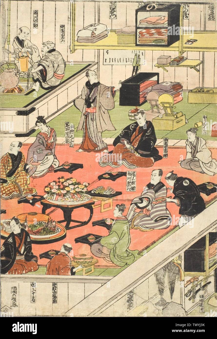 'Backstage at an Edo Kabuki Theater; English:  1810s Prints; woodcuts Color woodblock print; one sheet of a diptcyh Image and Sheet:  14 11/16 x 10 in. (37.31 x 25.4 cm) The Joan Elizabeth Tanney Bequest (M.2006.136.306) Japanese Art; 1810s date QS:P571,+1810-00-00T00:00:00Z/8; ' - Stock Image