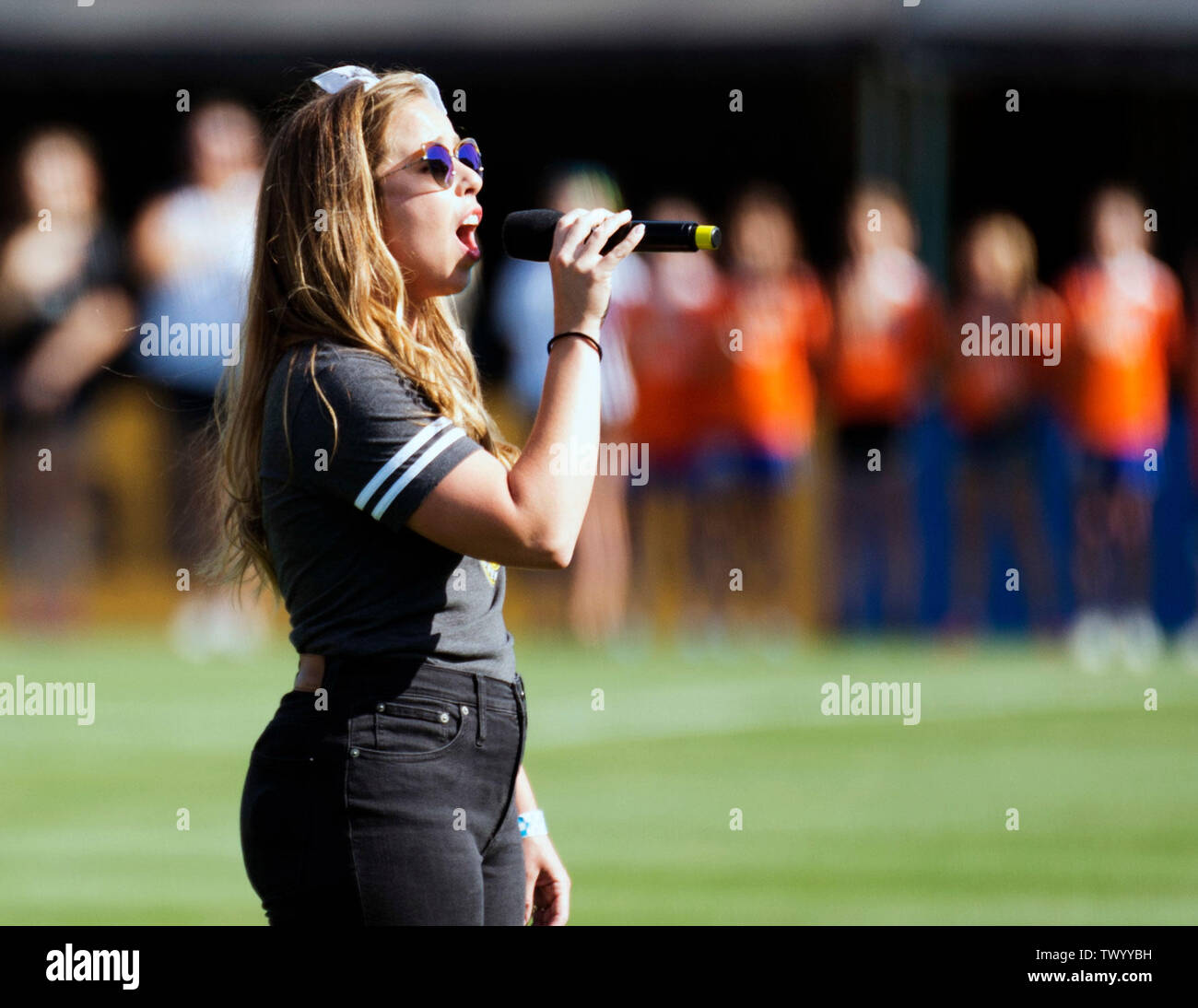June 23, 2019: Julia Ecos sings the National anthem before