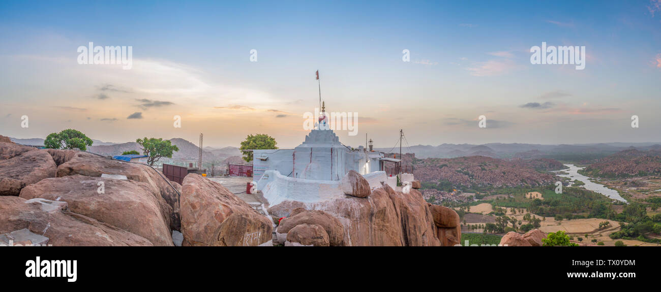 View of the Hanuman temple in Hampi, India, on a early sunrise. - Stock Image