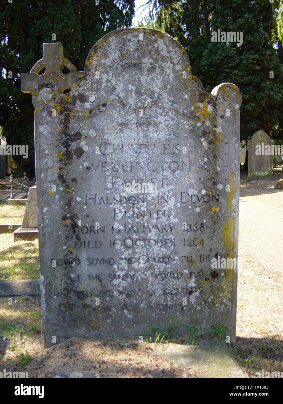 'English: I took this photograph of the gravestone of Charles Wellington Furse (1868-1904) in the churchyard of St Peter's Church, Frimley today. The gravestone bears the full quatrain ending 'one crowded hour of glorious life is worth and age without a name' by Mordaunt written in the European Seven Years' War. The lettering on the gravestone was difficult to read so I have enhanced it slightly using PhotoShop (I simply used a brightness/contrast adjustment layer with a mask which applied the effect only to the lettering - the letters now have higher contrast); 19 July 2006 (original upload d - Stock Image
