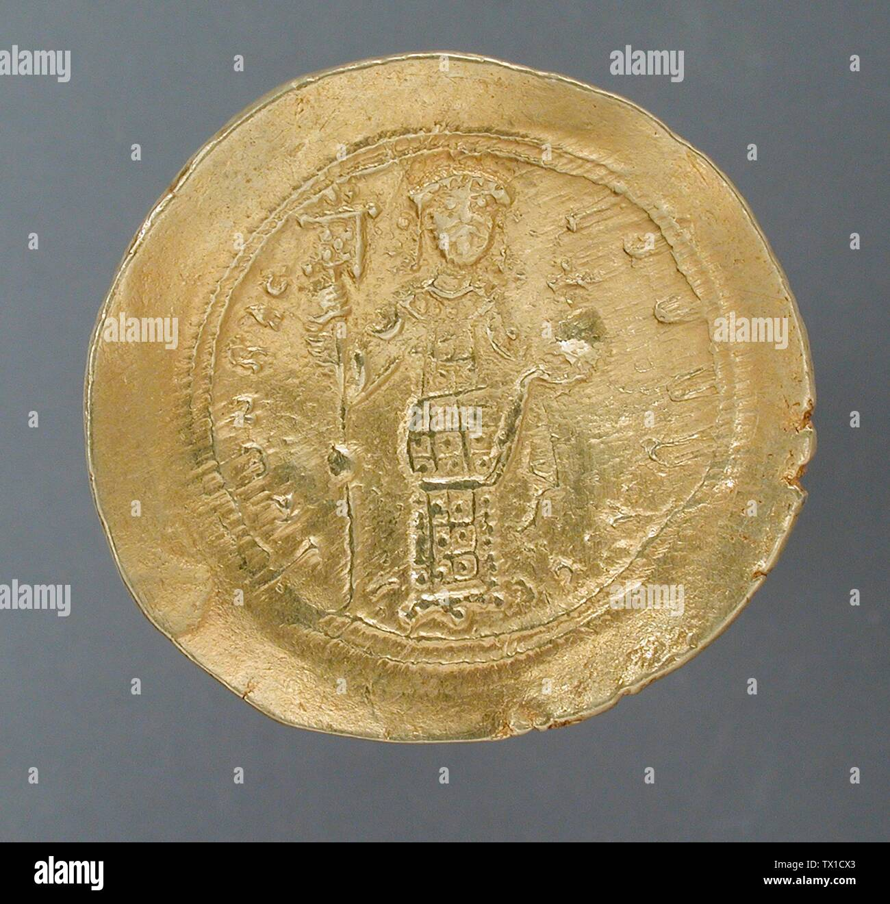 'Coin, Isaac I Commenus (image 2 of 2); English:  Constantinople, Byzantine, circa 1057-1059 A.D. Tools and Equipment; coins Gold Diameter: 1 1/16 in. (2.6 cm) Museum Associates Acquisition Fund (M.82.15.6) Art of the Ancient Near East; between circa 1057 and circa 1059 date QS:P571,+1057-00-00T00:00:00Z/8,P1319,+1057-00-00T00:00:00Z/9,P1326,+1059-00-00T00:00:00Z/9,P1480,Q5727902 A.D.; ' - Stock Image