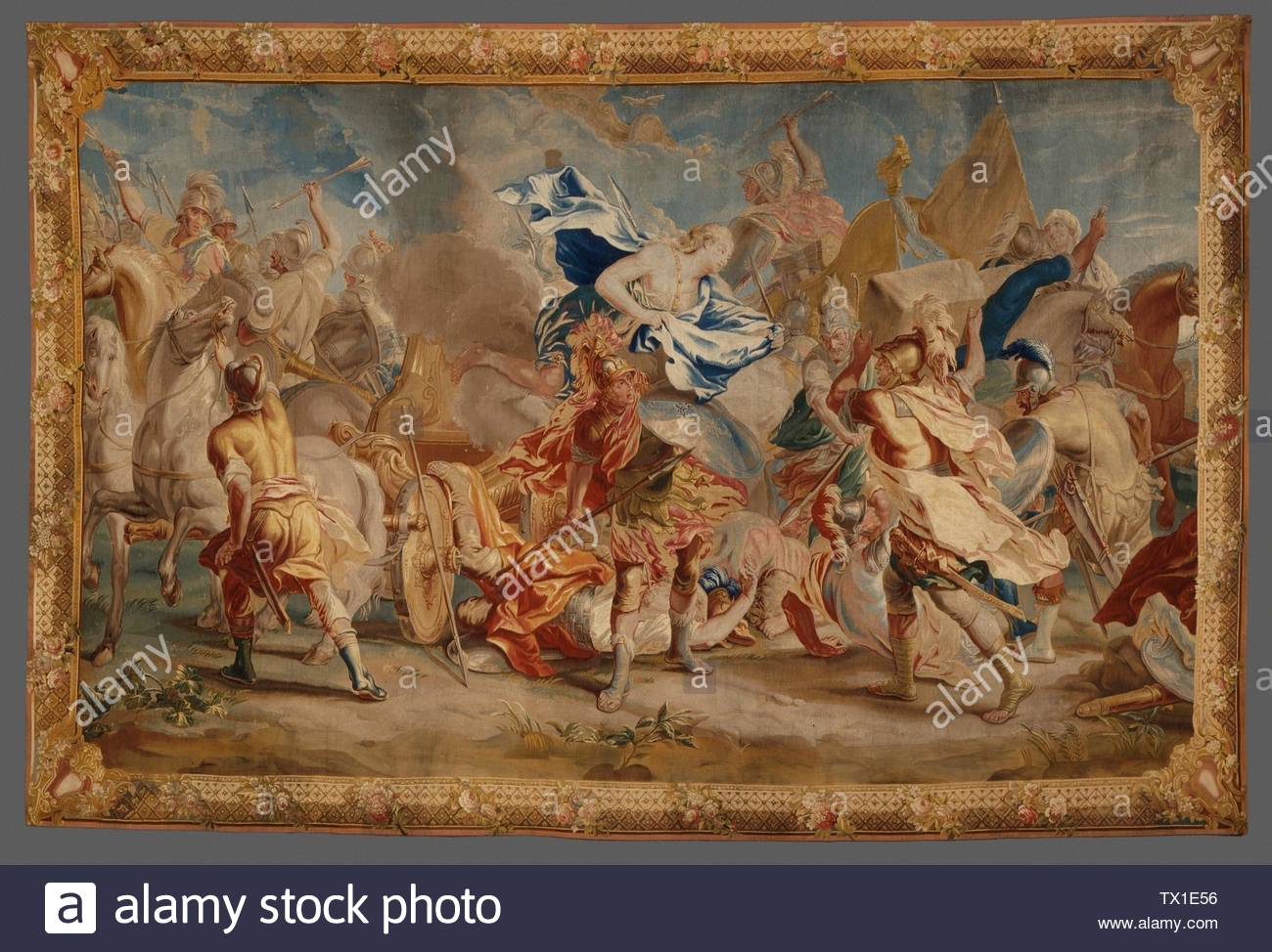 'Combat between Menelaus and Paris; English:  Belgium, Brussels, circa 1740 Textiles; tapestries Wool and silk tapestry weave Gift of J. Paul Getty (51.36.4) Costume and Textiles; circa 1740 date QS:P571,+1740-00-00T00:00:00Z/9,P1480,Q5727902; ' - Stock Image