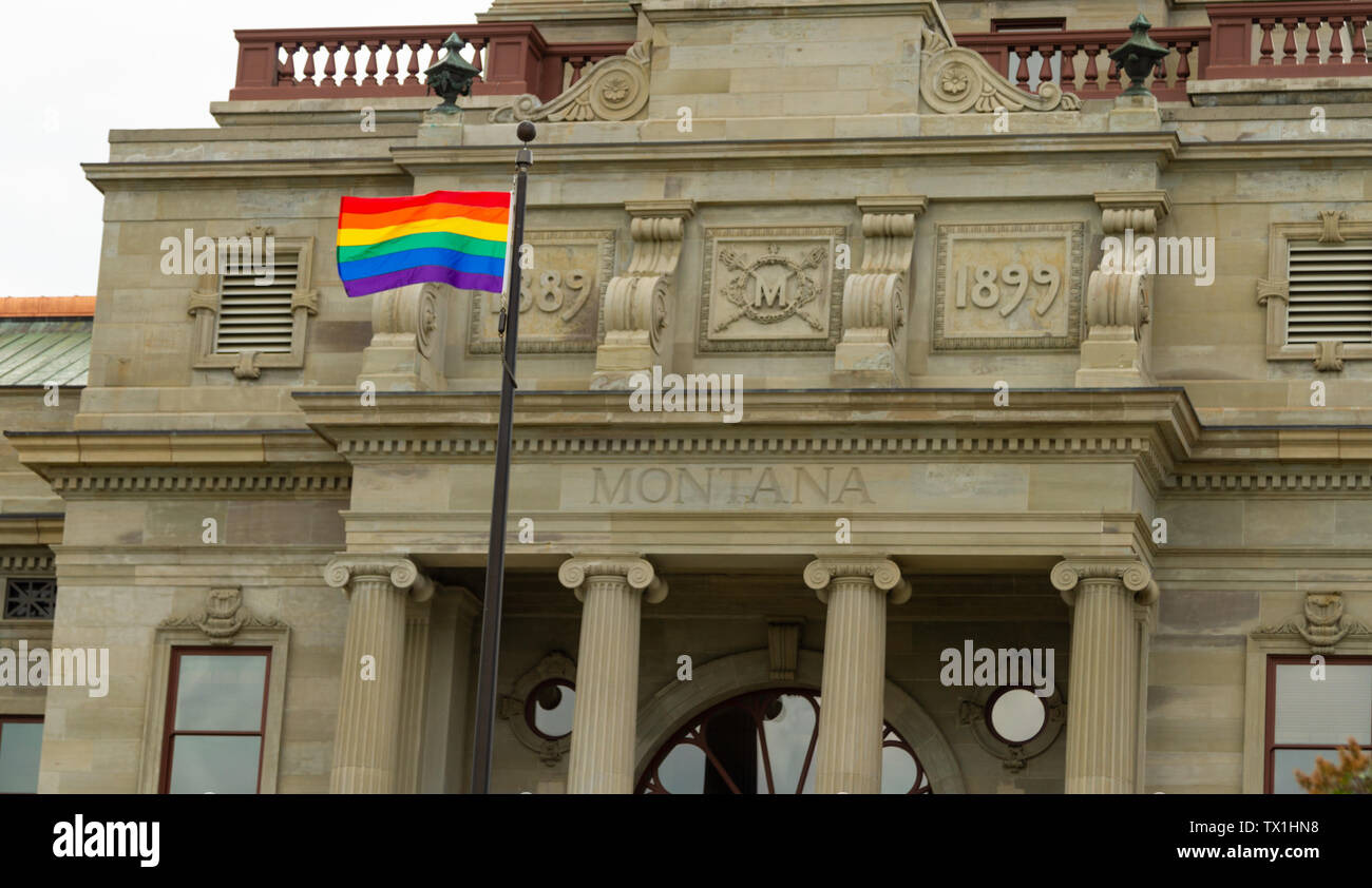 Governor Steve Bullock, a democrat, approved the flying of the rainbow pride flag over the state Capitol during the Big Sky Pride event, June 2019. Stock Photo