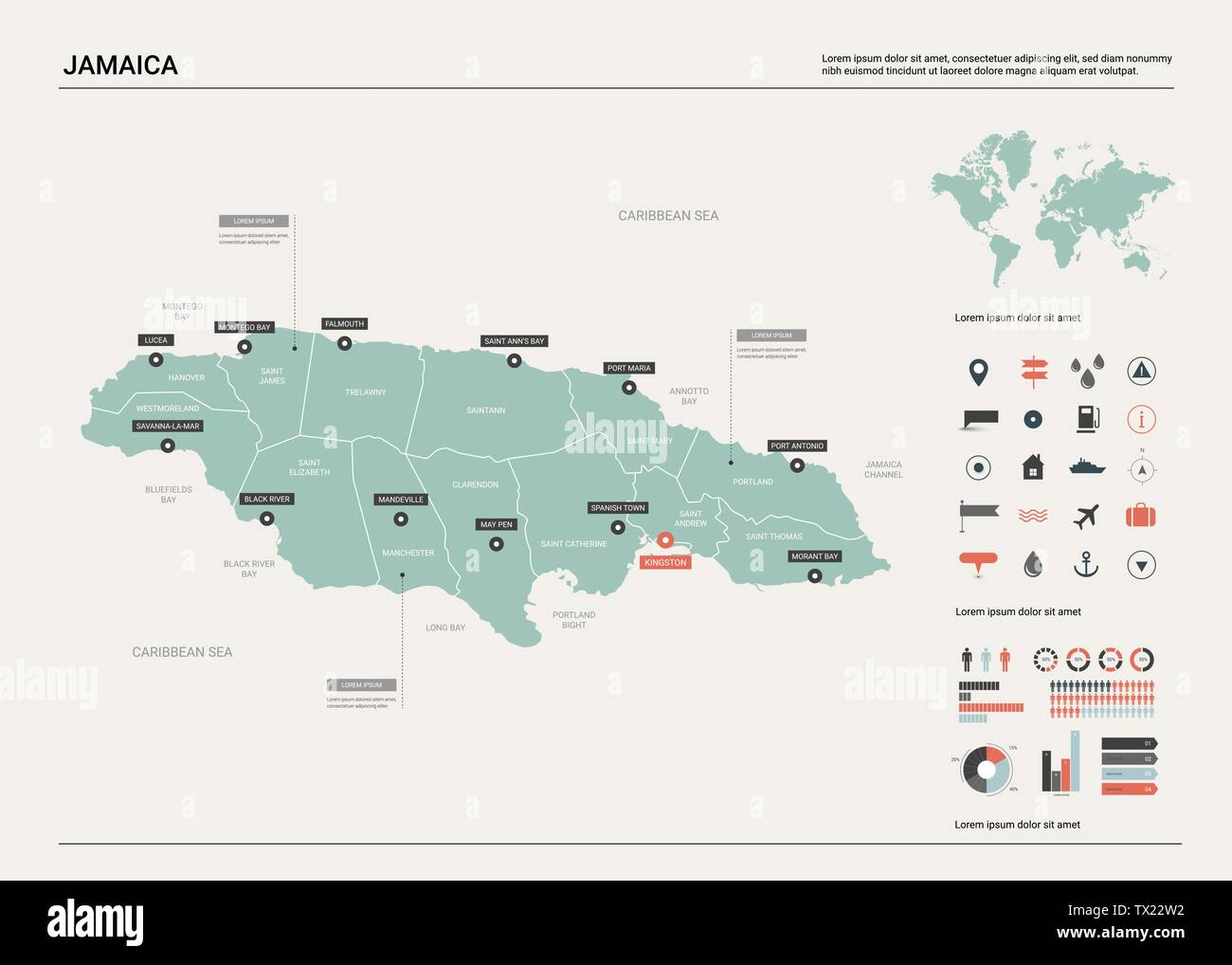 Vector map of Jamaica. Country map with division, cities and ...
