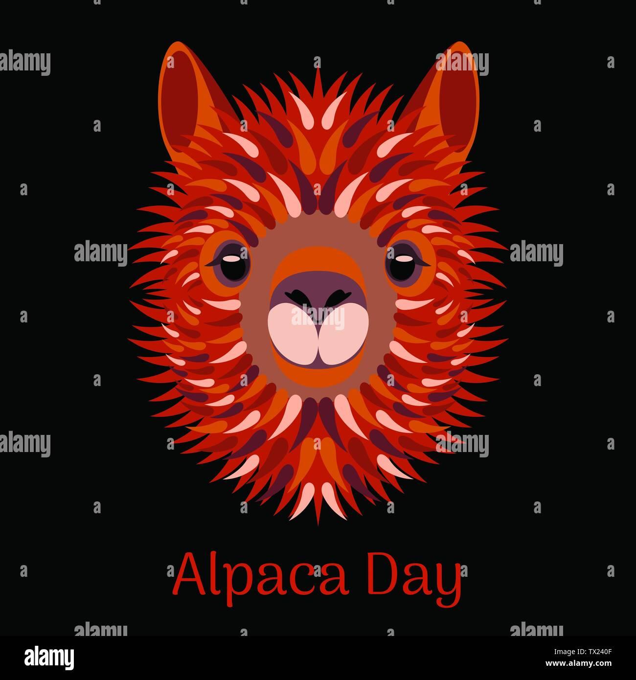 Alpaca Day. National holiday in Peru. Head, face, alpaca portrait - Stock Vector