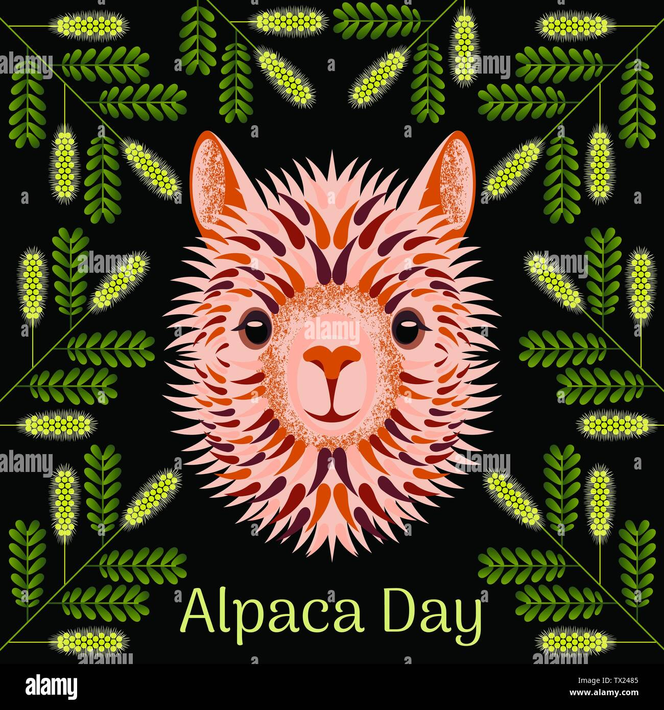 Alpaca Day. National holiday in Peru. Blonde Head, face, alpaca portrait. Mesquite twig frame - Stock Vector