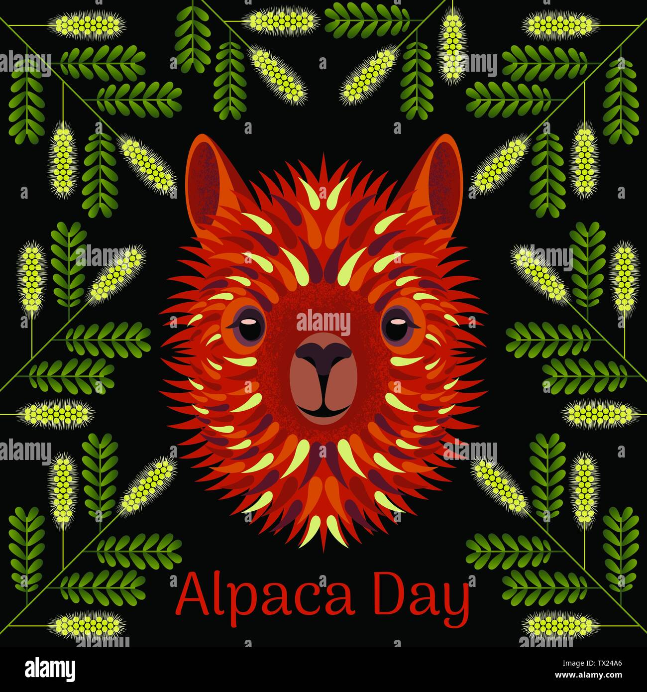 Alpaca Day. National holiday in Peru. Head, face, alpaca portrait. Mesquite twig frame - Stock Vector