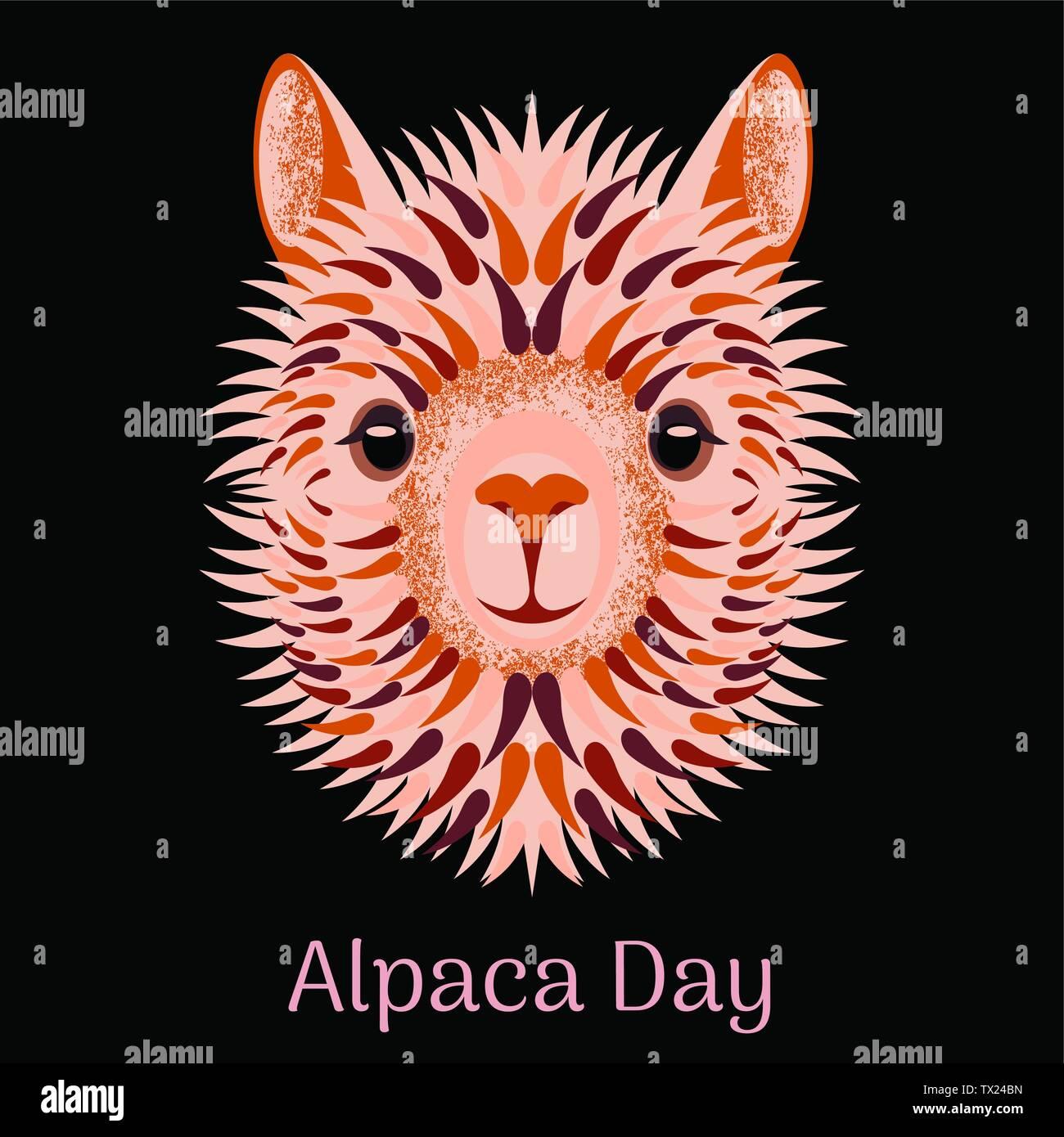 Alpaca Day. National holiday in Peru. Blonde Head, face, alpaca portrait - Stock Vector
