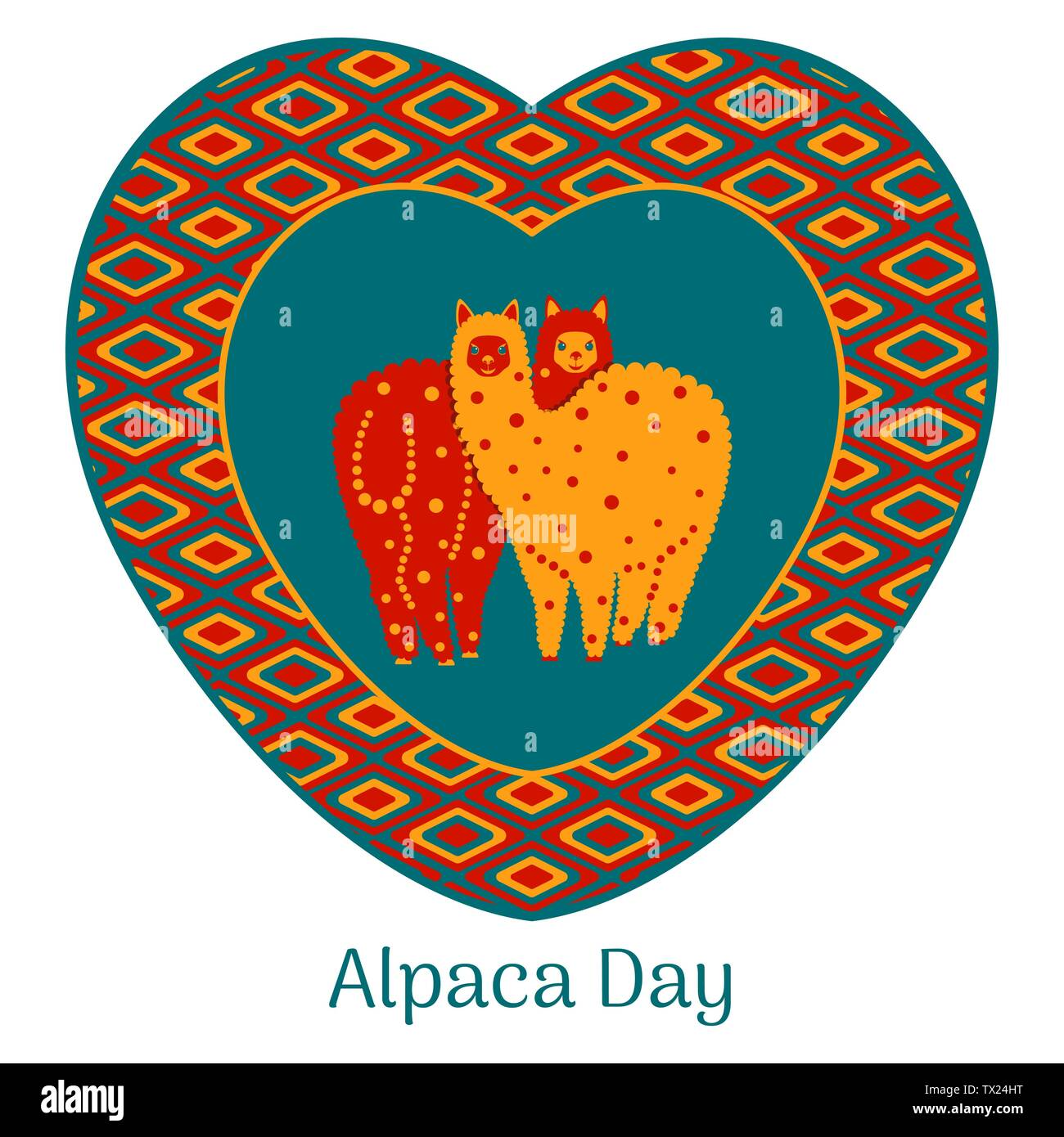 Alpaca Day. National holiday in Peru. Alpaca couple in love framed heart with national ornament - Stock Vector