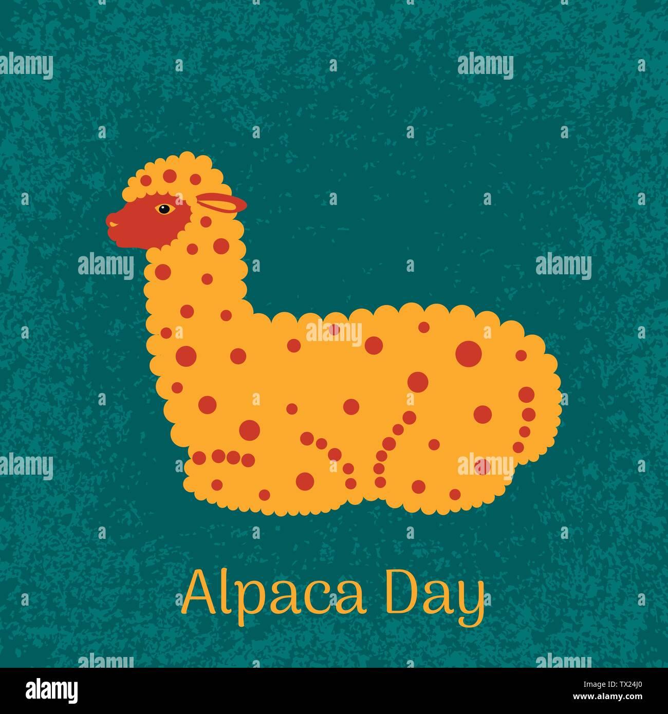Alpaca Day. National holiday in Peru. Alpaca lies - Stock Vector