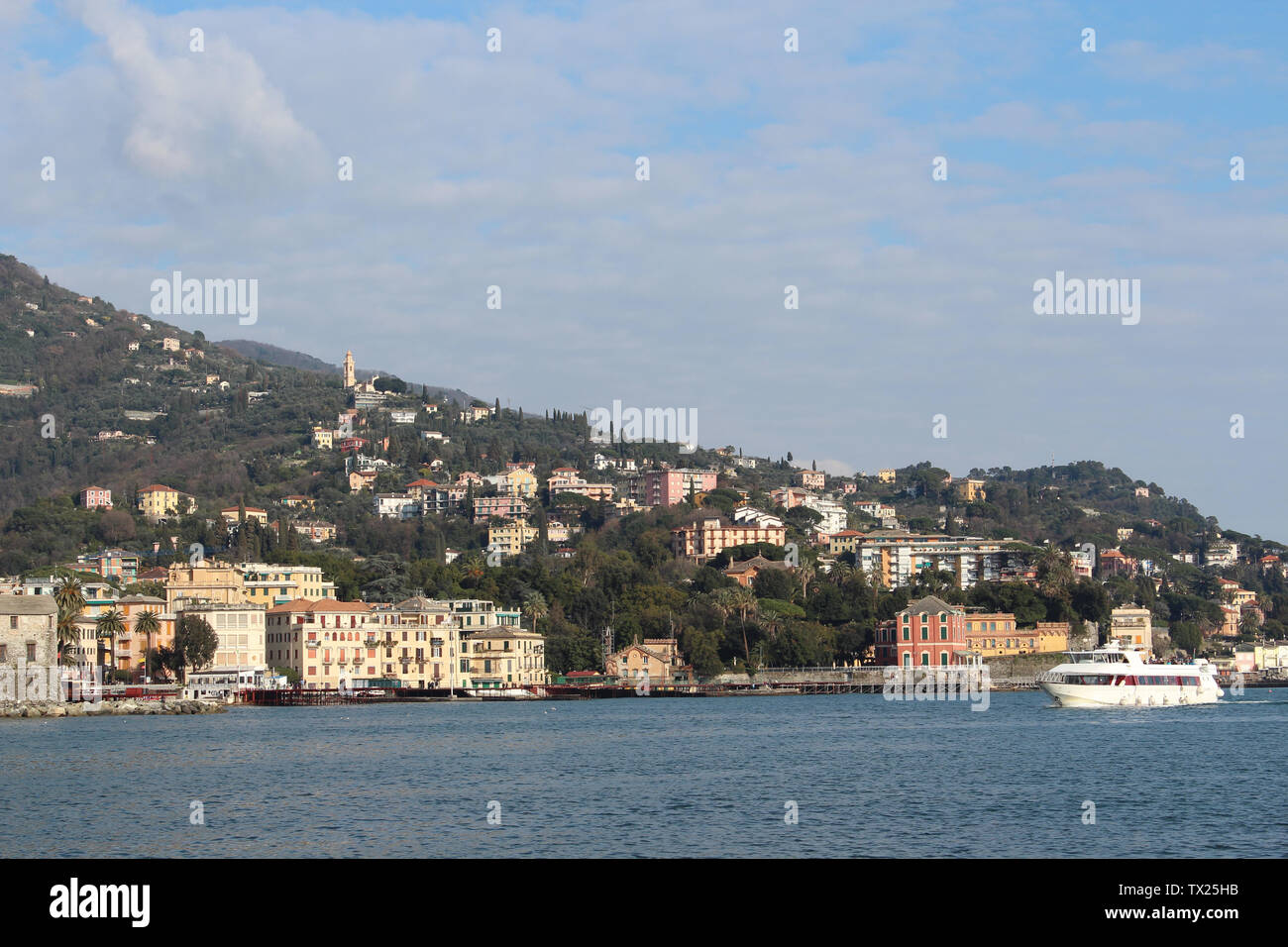 Rapallo, Italy - 03 27 2013: the Gulf of Tigullio. View of the streets of Rapallo. - Stock Image