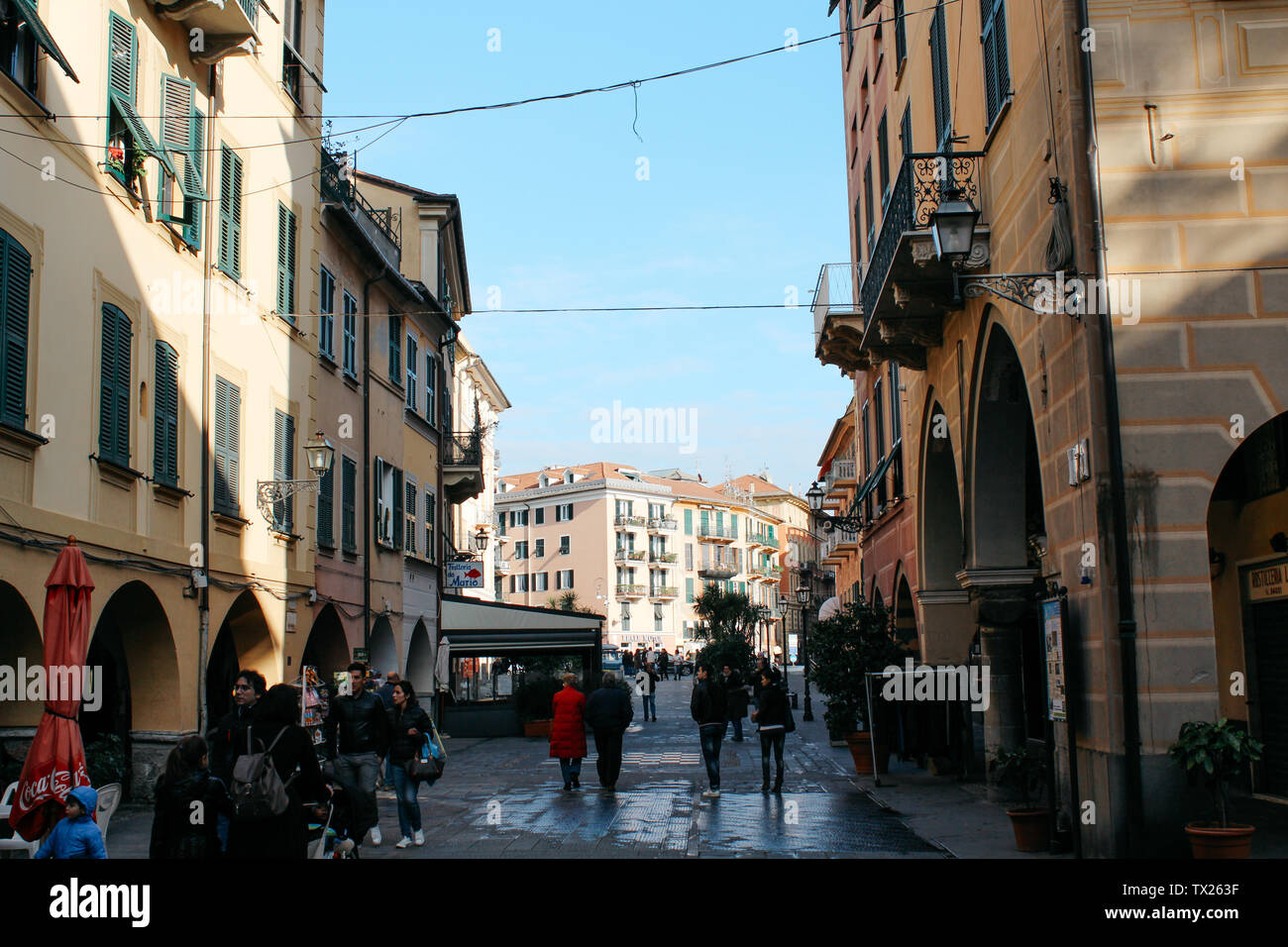 Rapallo, Italy - 03 27 2013: people, walking tourists, View of the streets of Rapallo - Stock Image