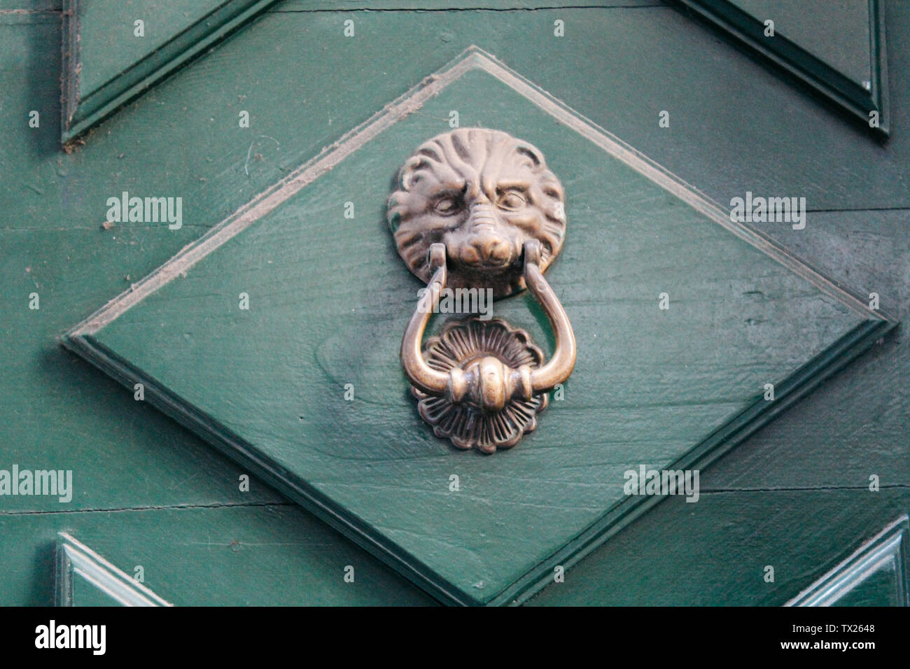 Rapallo, Italy - 03 27 2013: Lion head knocker on the green door. View of the streets of Rapallo. - Stock Image