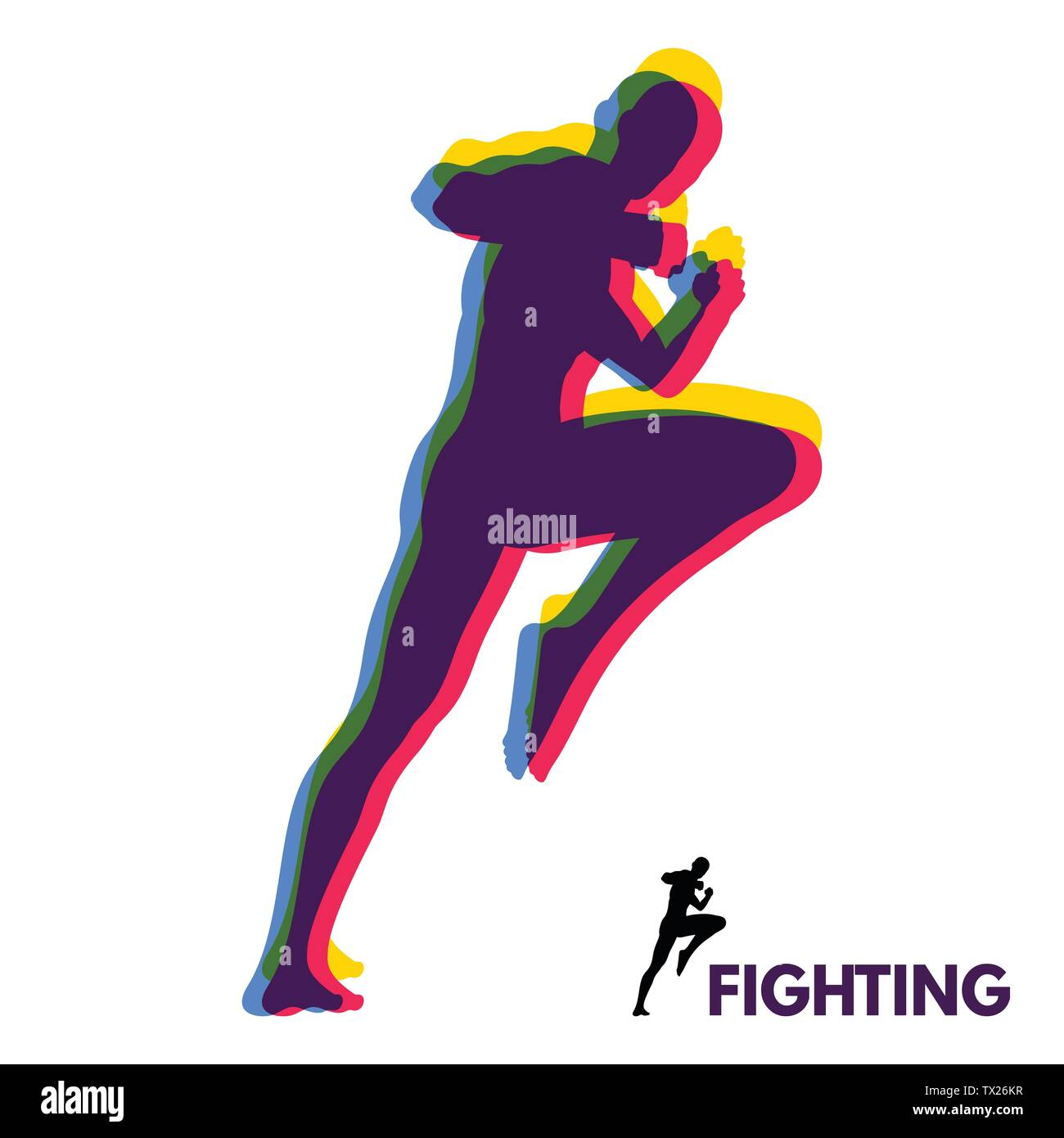 Kickbox fighter preparing to execute a high kick. Silhouette of a fighting man. Design template for Sport. Emblem for training. Vector Illustration. - Stock Image