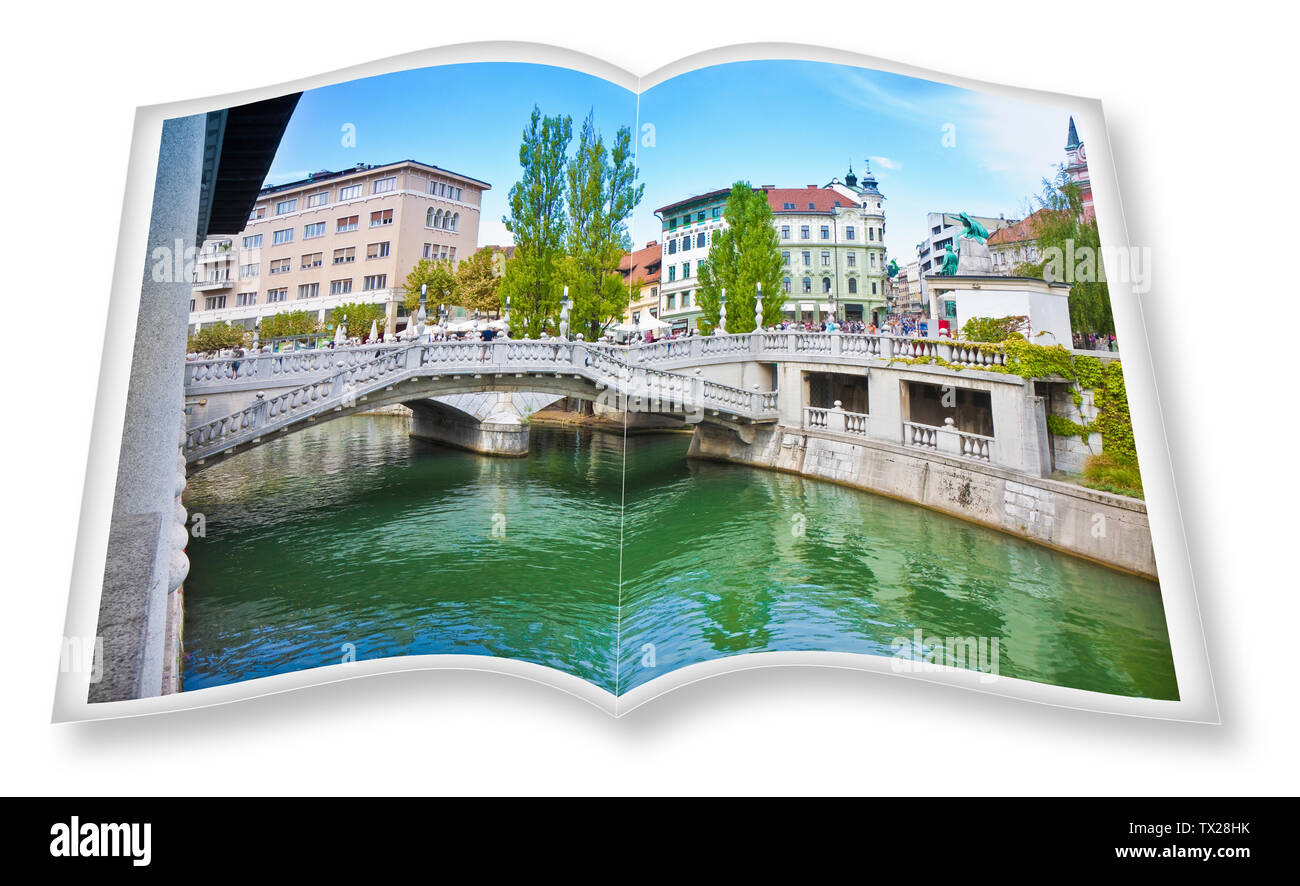 """The famous """"Triple Bridge"""" on Ljubljana (Slovenia - Europe) - People are not recognizable. 3D render of an opened photo book isolated on white - I'm t Stock Photo"""