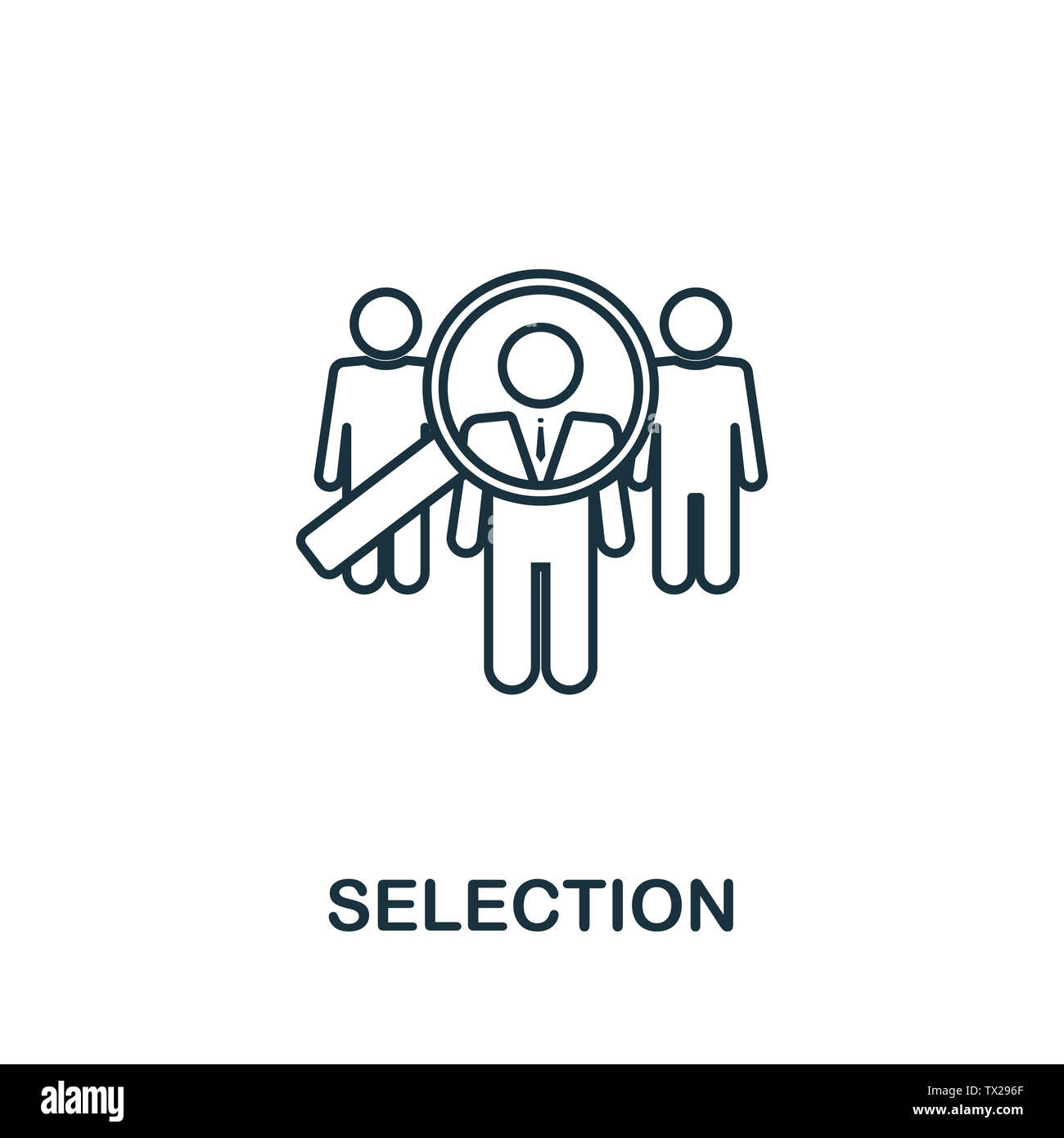 Selection icon symbol in outline style. Creative sign from human resources icons collection. Thin line Selection icon for computer and mobile. Symbol, Stock Photo