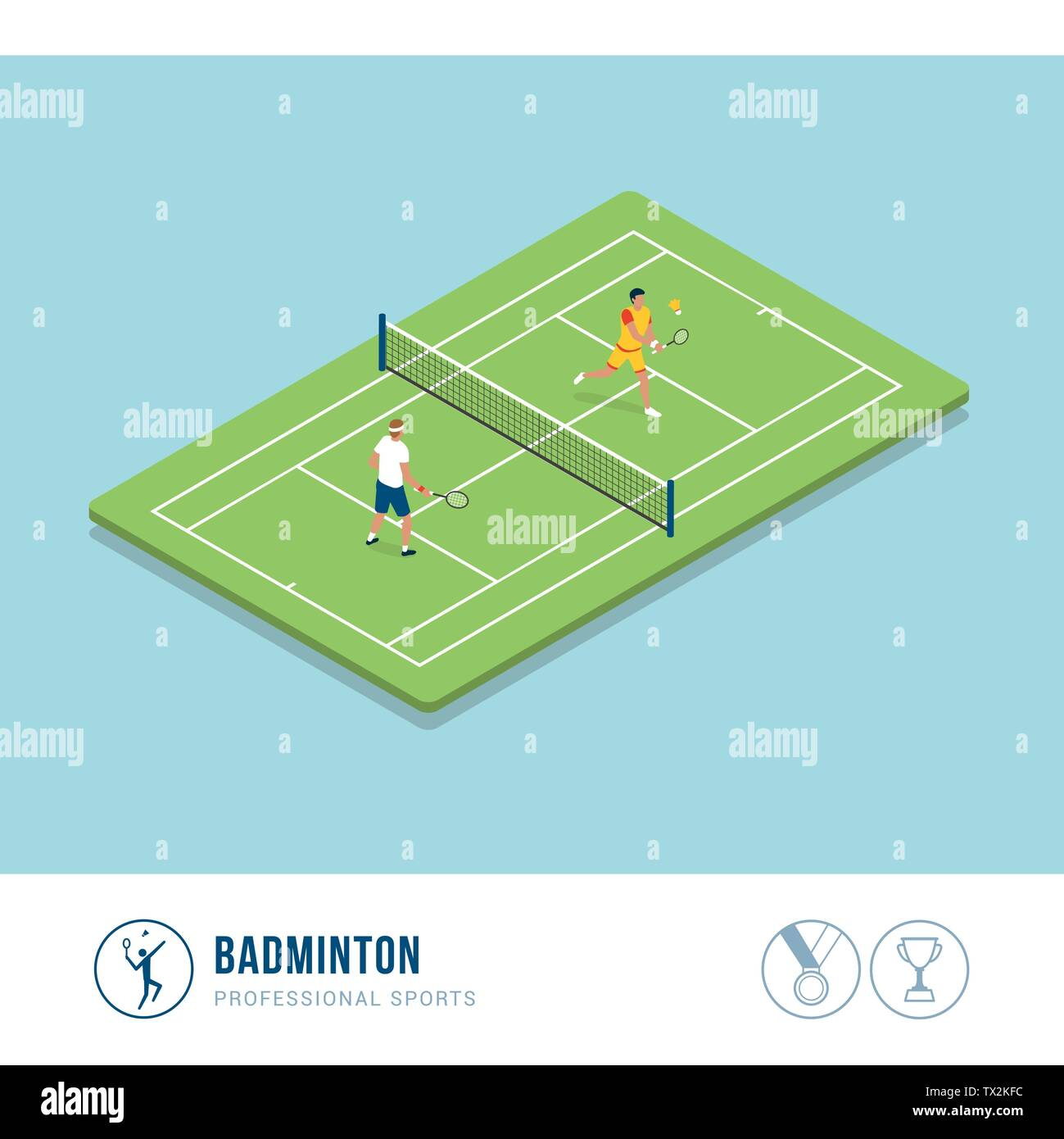 Professional sports competition: badminton, two players hitting the shuttlecock with their racquets - Stock Vector