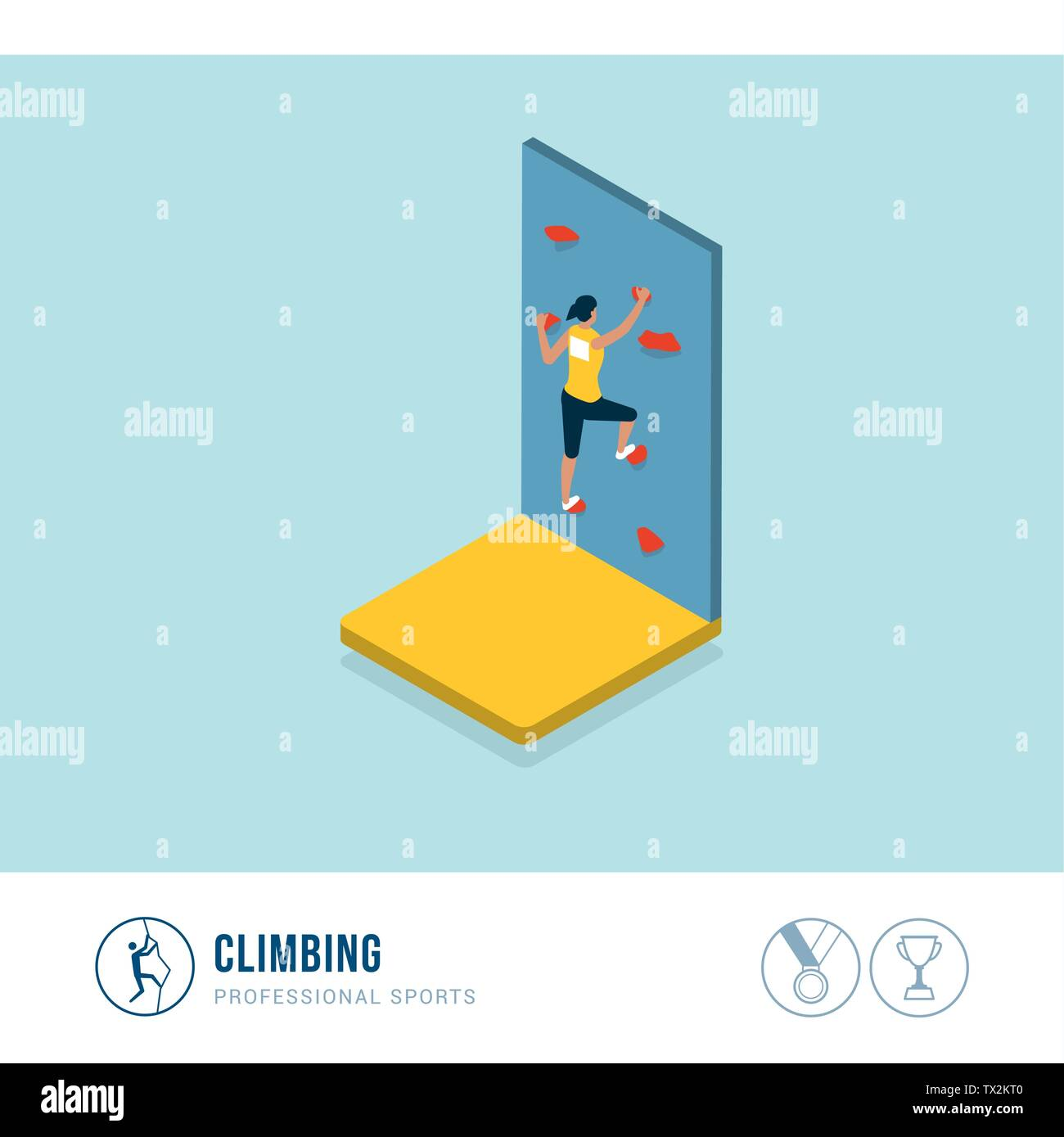 Professional sports competition: athletic woman climbing a wall - Stock Vector