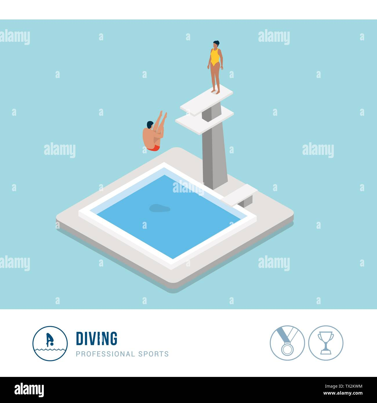 Professional sports competition: diving, professional diver jumping from a platform - Stock Vector