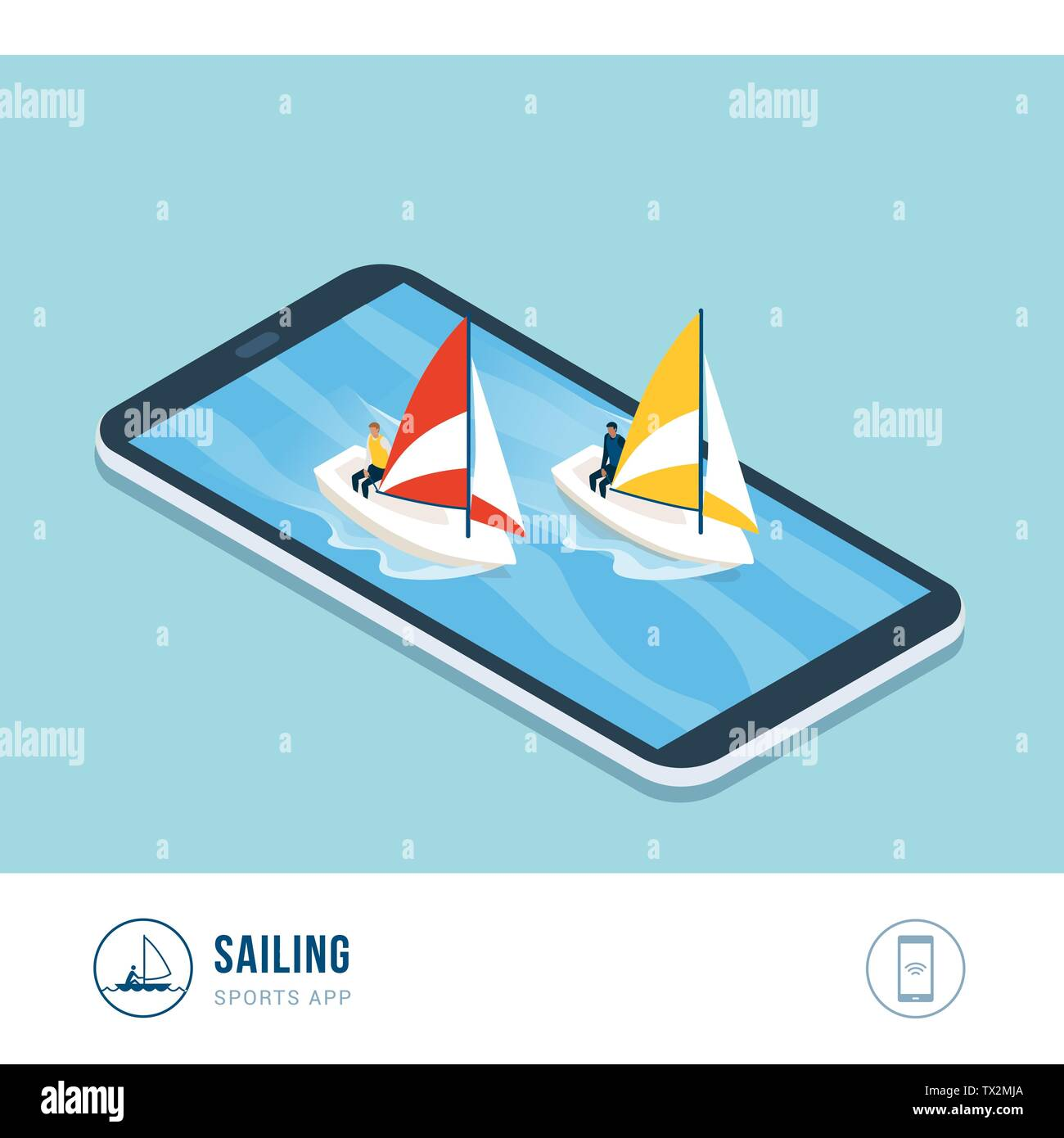Professional sports competition: sailing boats in the sea, mobile app - Stock Vector