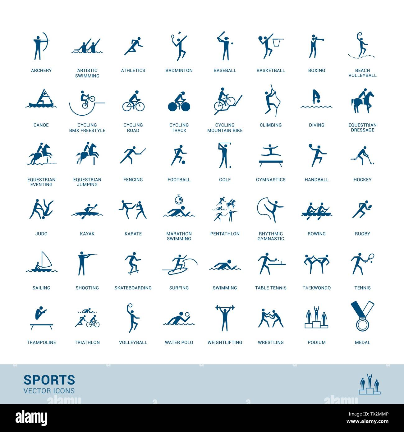 Sports disciplines icons  with vector stick figure symbol - Stock Image