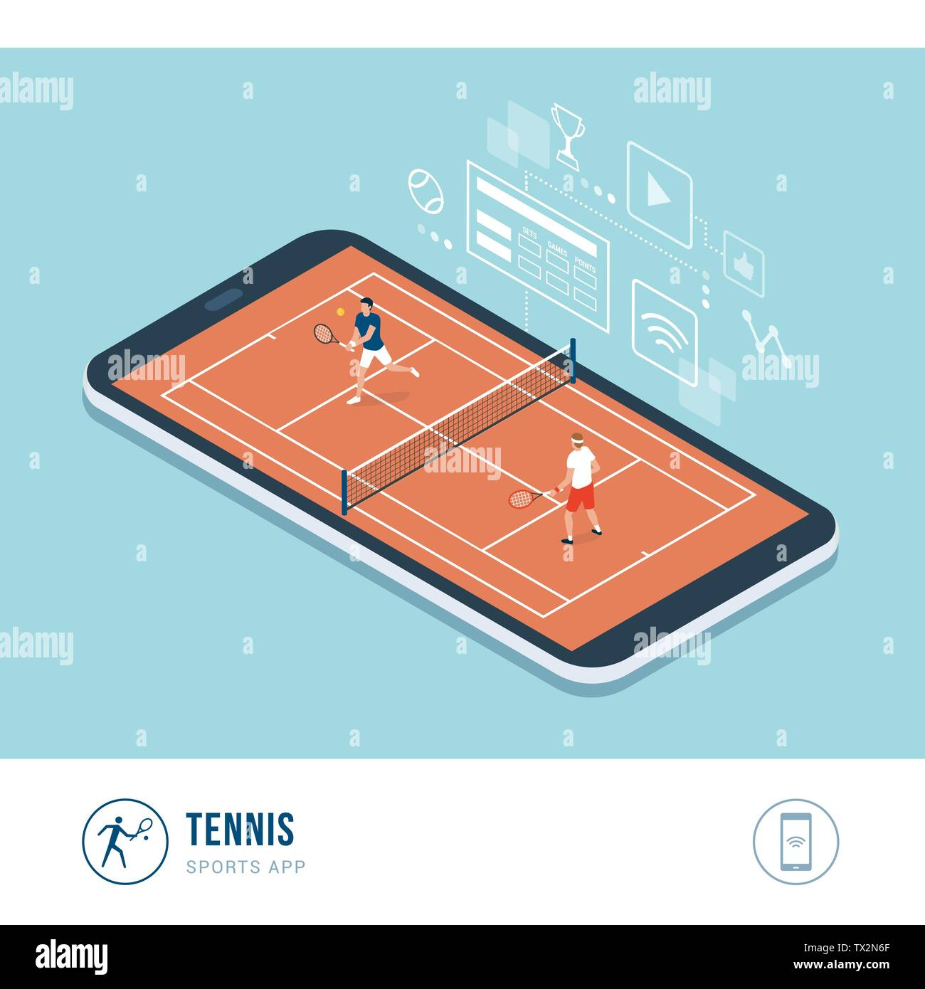 Professional sports competition: tennis players during a match, mobile app - Stock Vector