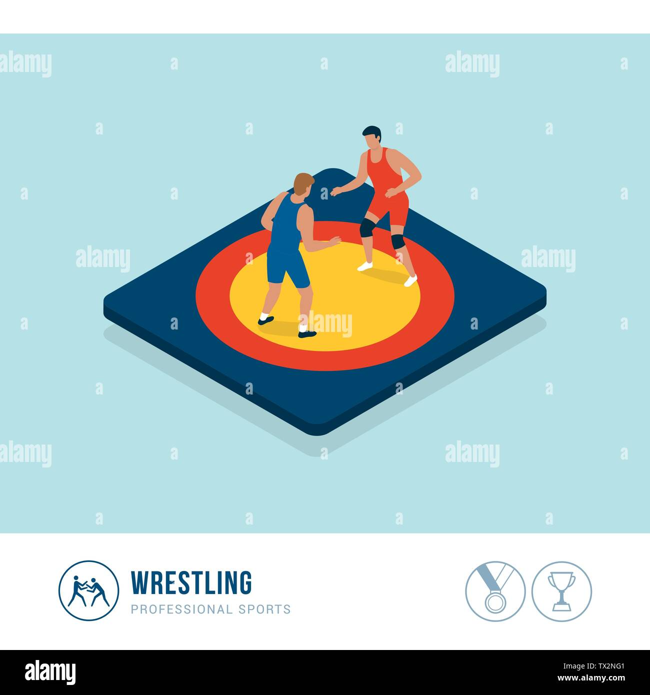 Professional sports competition: wrestling, athletes fighting together in the ring - Stock Image