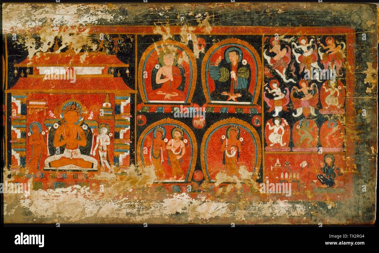 'Enshrined Manjushri with Monks and Deities, Cover of a Prajnaparamita (The Perfection of Wisdom); English:  Central or western Tibet, 15th century Books Wood with opaque watercolor 9 3/4 x 27 in. (24.76 x 68.58 cm) From the Nasli and Alice Heeramaneck Collection, Museum Associates Purchase (M.82.42.5) South and Southeast Asian Art; 15th century date QS:P571,+1450-00-00T00:00:00Z/7; ' - Stock Image