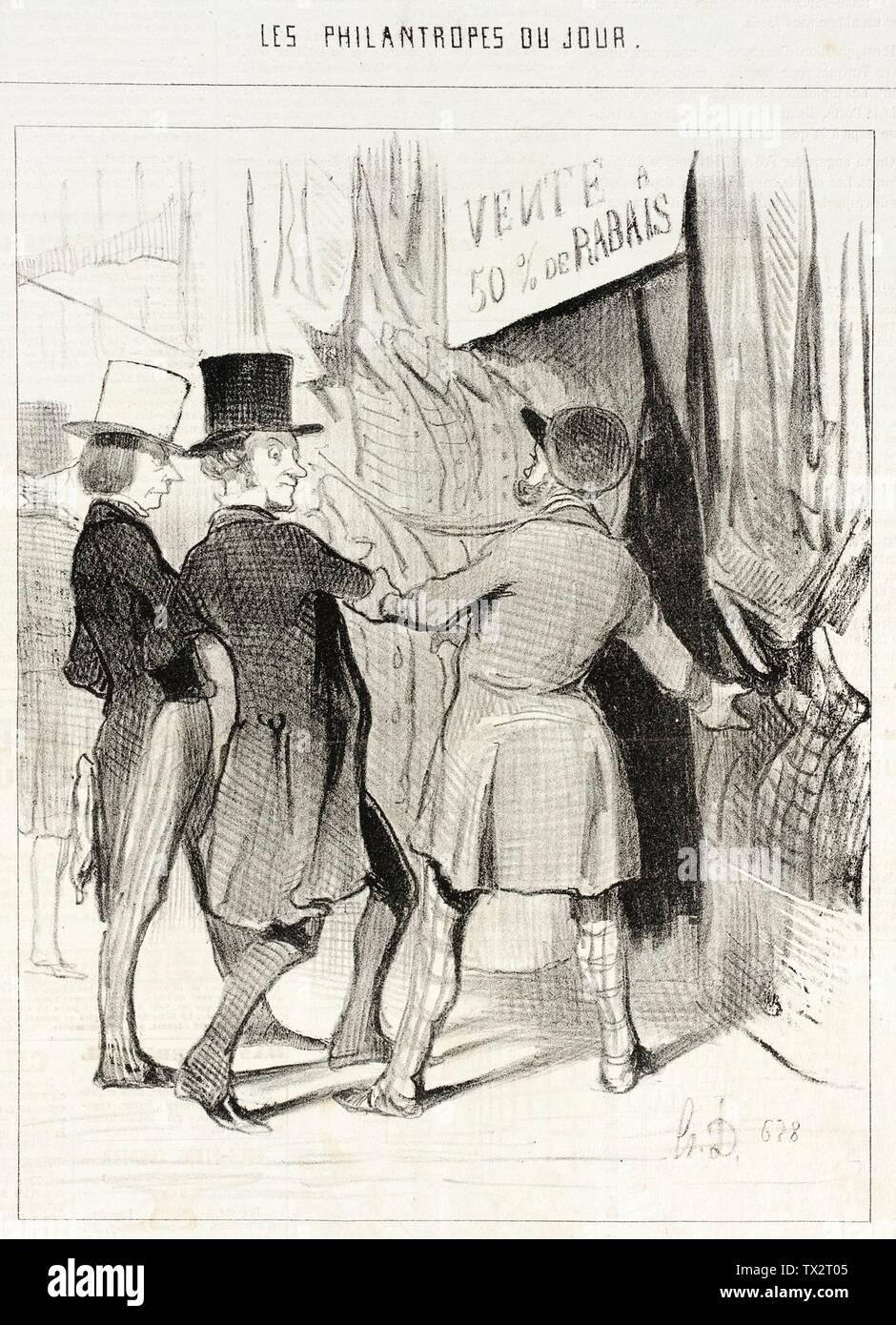 """""""Entrez Messieurs...Voici de magnifiques paletots que je vends a perte...; English:  France, 1844 Series: Les Philantropes du jour Periodical: Le Charivari, 19 October 1844 Prints; lithographs Lithograph Gift of Mr. and Mrs. Stanley Talpis (54.71.107) Prints and Drawings; 1844date QS:P571,+1844-00-00T00:00:00Z/9; """" Stock Photo"""