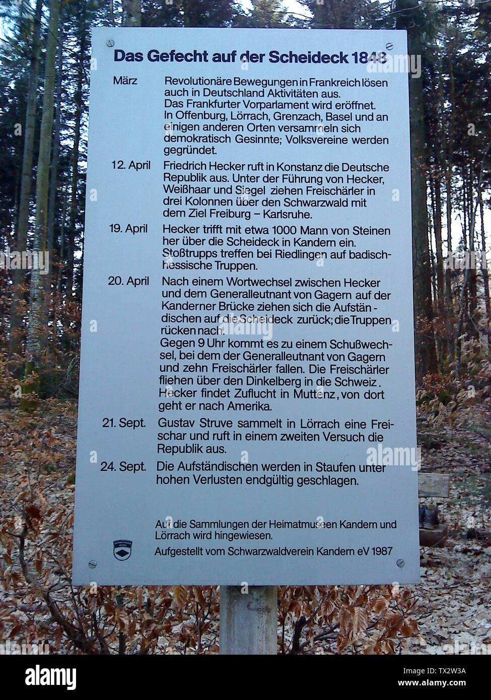 'Deutsch: Erinnerungstafel auf dem Scheideckpass an das Gefecht auf der Scheideck; 10 March 2012; Self-photographed; Römert; ' - Stock Image