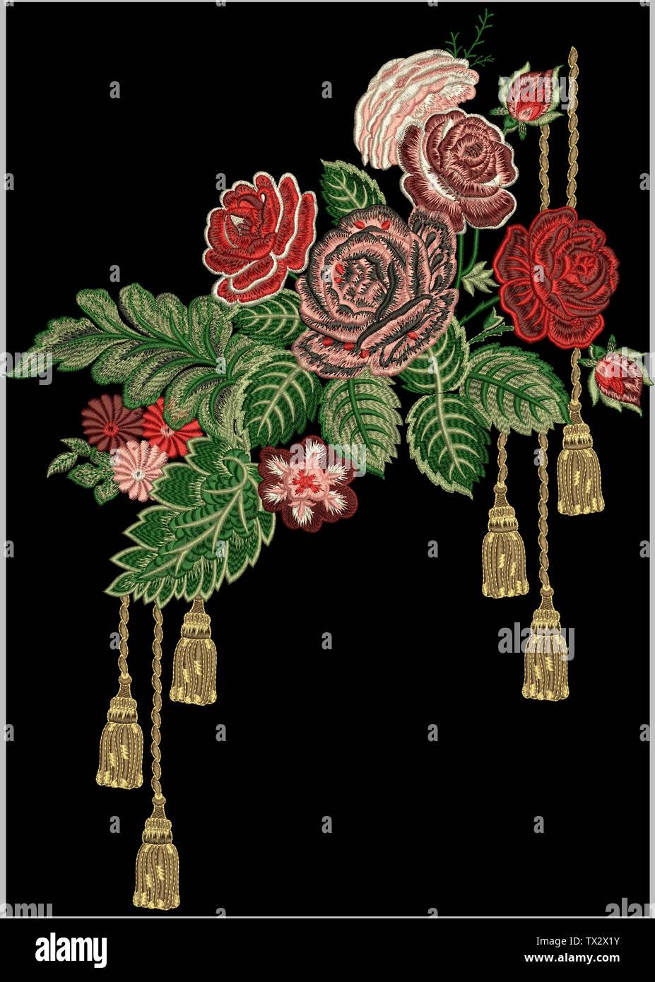 Textile Print Mughal Art miniature manual illustrated artwork Stock Photo