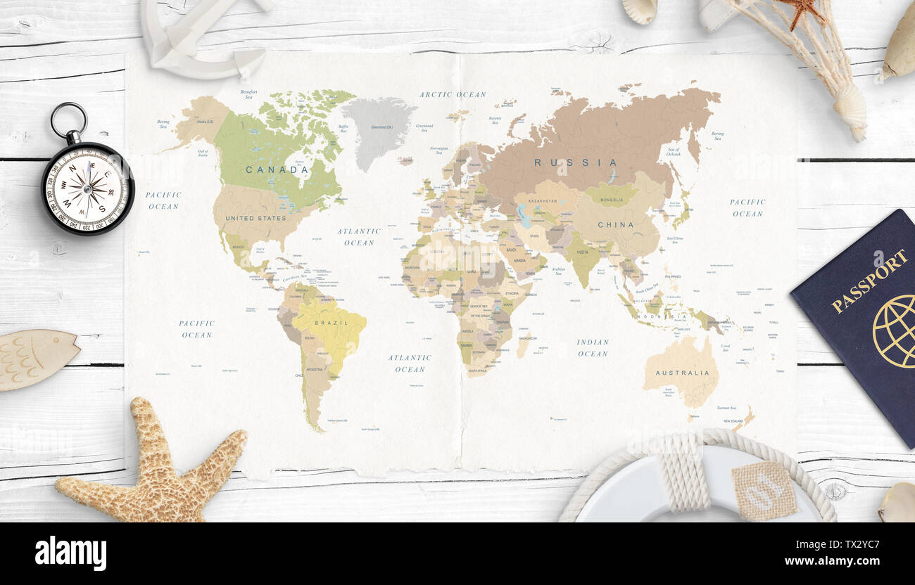 World Map And Compass Stock Photos & World Map And Compass Stock