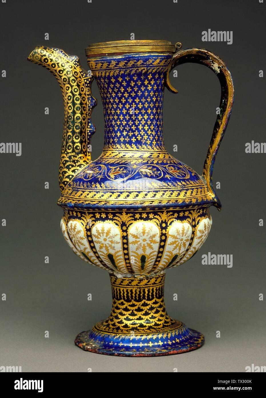 'Ewer; English:  Italy, Venice, circa 1500 Furnishings; Serviceware Polychrome enamel, gold on copper Height:  8 1/2 in. (21.5 cm) Gift of Varya and Hans Cohn (AC1992.152.115) Decorative Arts and Design; circa 1500 date QS:P571,+1500-00-00T00:00:00Z/9,P1480,Q5727902; ' - Stock Image