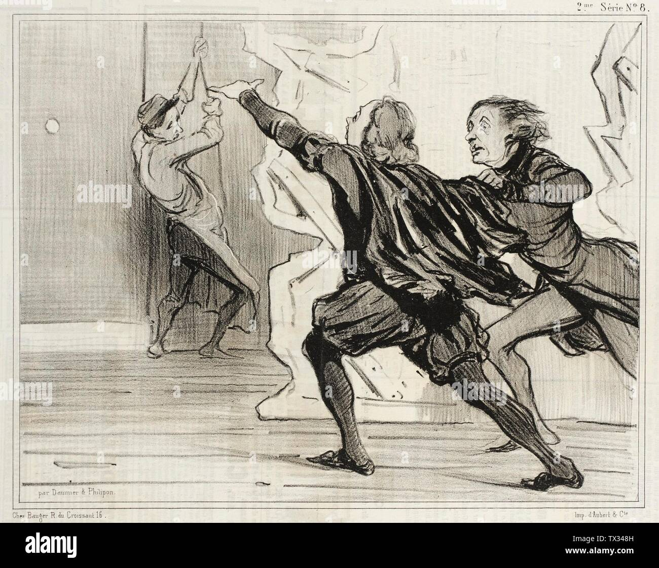 'Farce dramatique...; English:  France, 1841 Series: Robert Macaire Periodical: Le Charivari, 18 April 1841 Prints; lithographs Lithograph Sheet: 7 11/16 x 9 15/16 in. (19.53 x 25.24 cm) Gift of Mrs. Florence Victor from The David and Florence Victor Collection (M.91.82.137) Prints and Drawings; 1841date QS:P571,+1841-00-00T00:00:00Z/9; ' - Stock Image