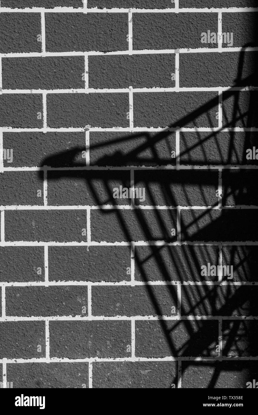 Idea theft with the shadow of the basket trolley black brick wall background. - Stock Image