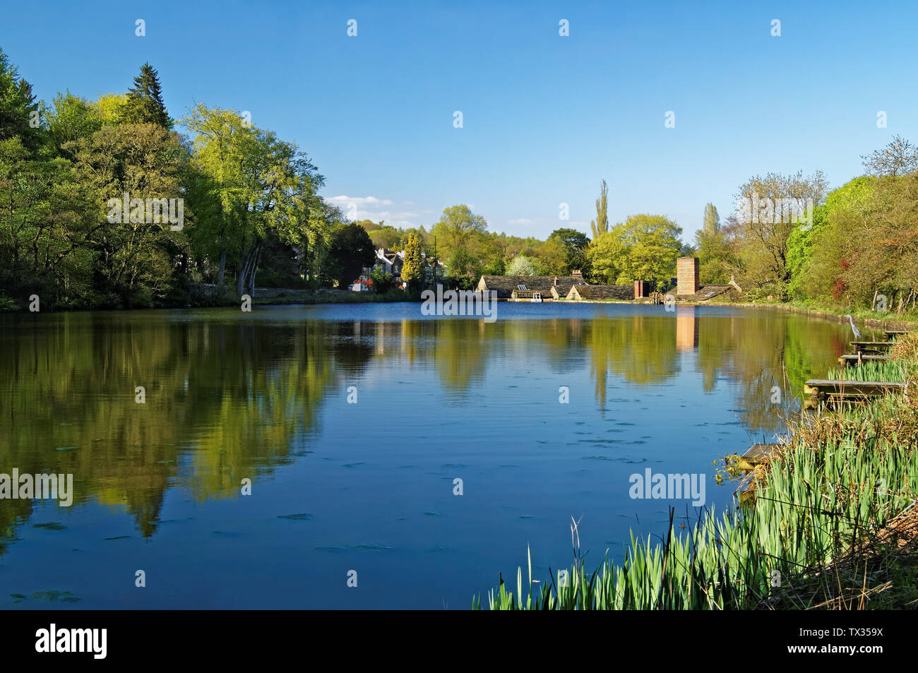 UK,South Yorkshire,Sheffield,Abbeydale Industrial Hamlet & Lake - Stock Image