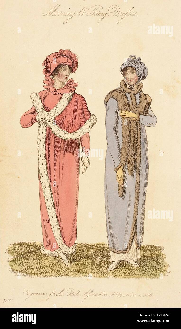 'Fashion Plate (Morning Walking Dresses); English:  England, London, November 1, 1808 Prints; engravings Hand-colored engraving on paper Gift of Dr. and Mrs. Gerald Labiner (M.86.266.77) Costume and Textiles; 1808date QS:P571,+1808-00-00T00:00:00Z/9; ' - Stock Image