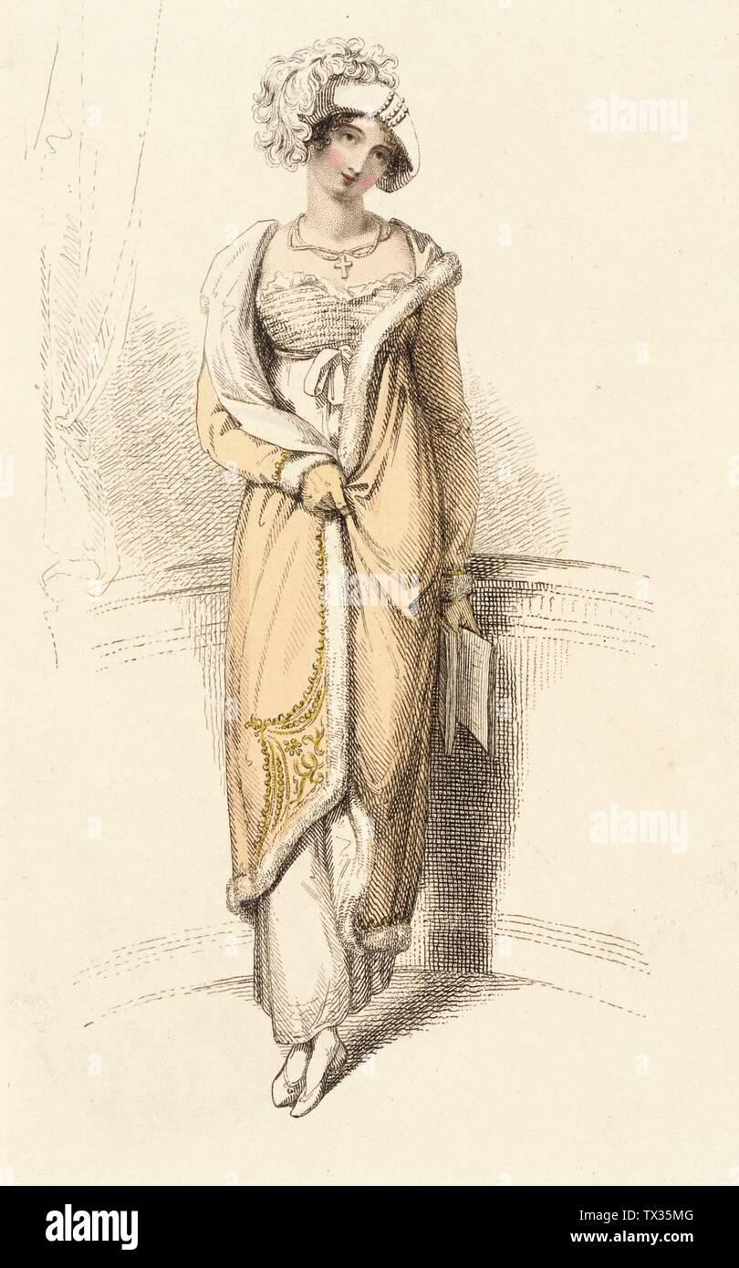 'Fashion Plate (Opera Dress); English:  England, London, March 1, 1813 Prints; engravings Hand-colored engraving on paper Sheet: 11 x 8 1/2 in. (27.94 x 21.59 cm); Composition: 8 7/8 x 5 3/8 in. (22.54 x 13.65 cm) Gift of Charles LeMaire (M.83.161.173) Costume and Textiles; March 1813date QS:P571,+1813-03-00T00:00:00Z/10; ' - Stock Image