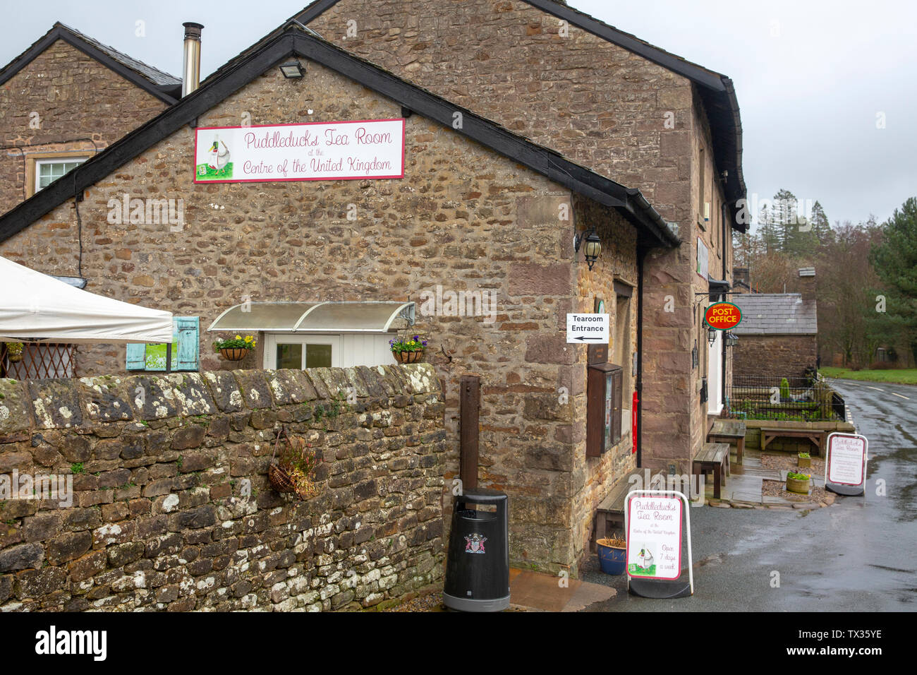 Puddleducks cafe and tea rooms at Dunsop bridge, the geographical centre of the united kingdom,Forest of Bowland,Lancashire,England Stock Photo
