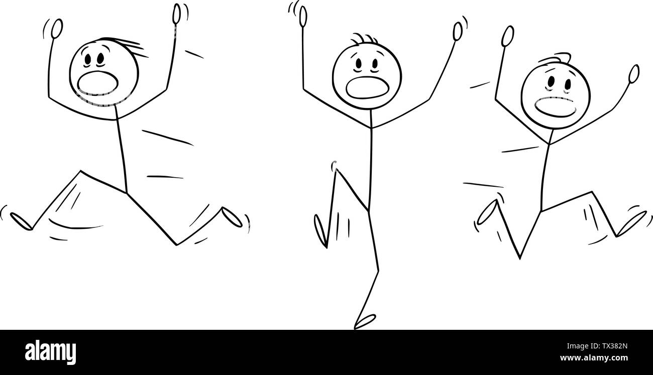 Vector cartoon stick figure drawing conceptual illustration of group of men or businessmen running away in panic. Stock Vector