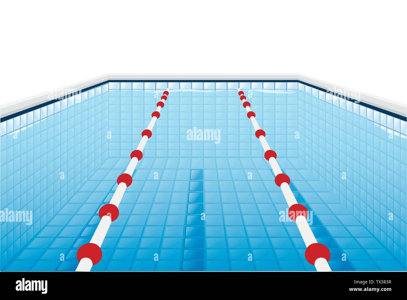 Professional swimming pool with paths for dip and water flat vector illustration on white background - Stock Vector